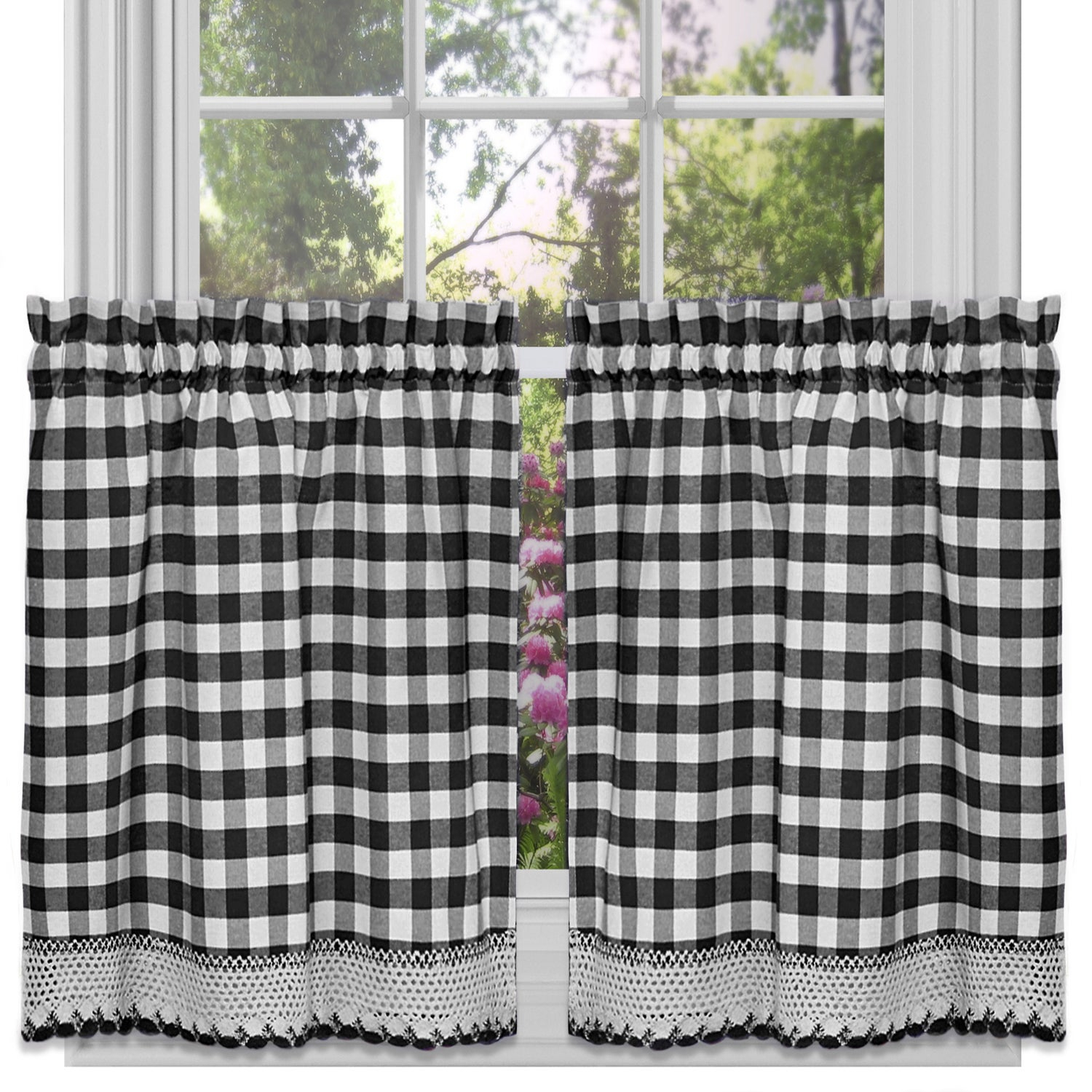 Classic Buffalo Check Kitchen Black And White Tiers Or Valance For Classic Black And White Curtain Tiers (View 10 of 20)