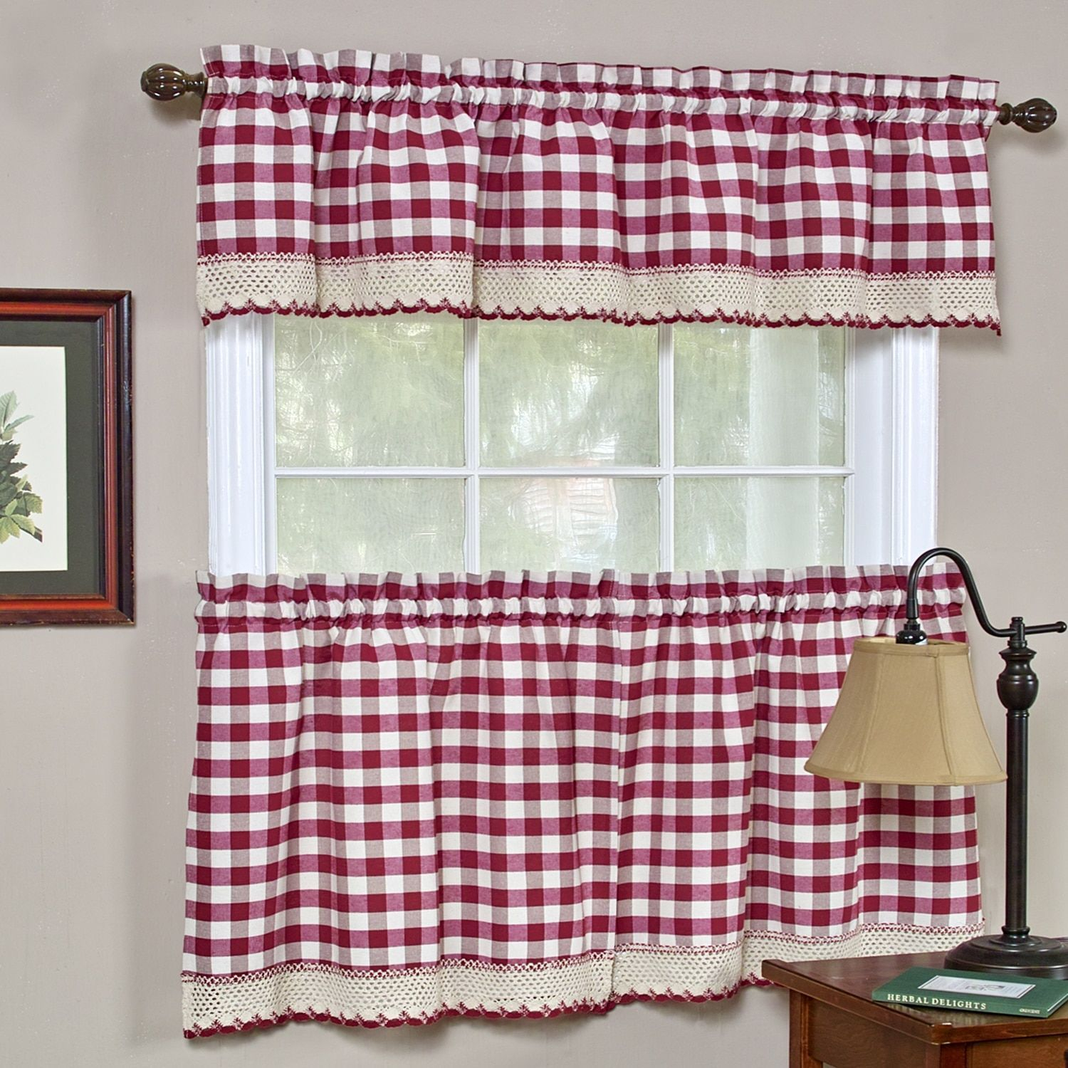 Featured Photo of Kitchen Burgundy/white Curtain Sets