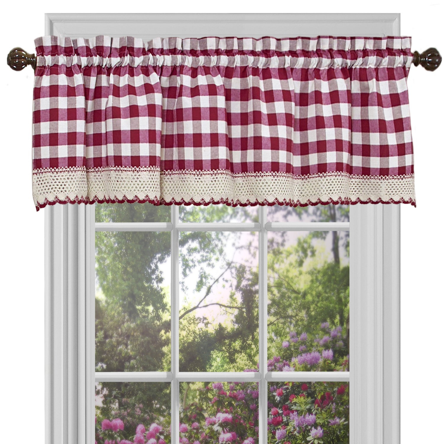 Classic Buffalo Check Kitchen Burgundy/white Curtain Set Or Separates Inside Kitchen Burgundy/white Curtain Sets (View 4 of 20)