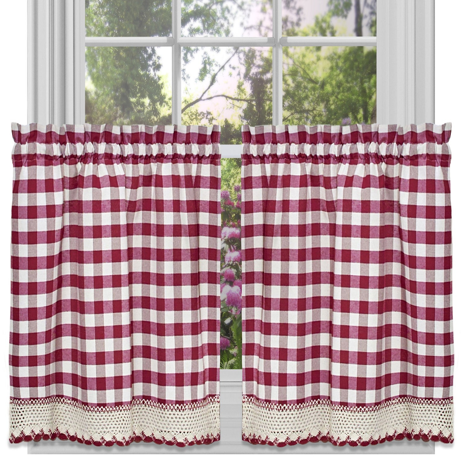 Classic Buffalo Check Kitchen Burgundy/white Curtain Set Or Separates With Classic Navy Cotton Blend Buffalo Check Kitchen Curtain Sets (View 3 of 20)