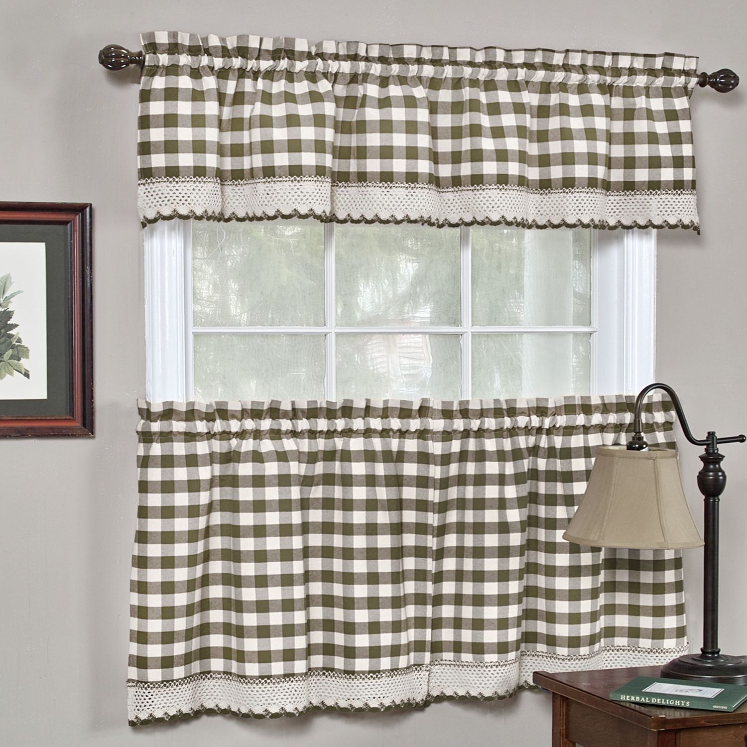 Classic Buffalo Check Kitchen Curtains (24 Tier Pair, Taupe with Barnyard Buffalo Check Rooster Window Valances (Image 13 of 20)