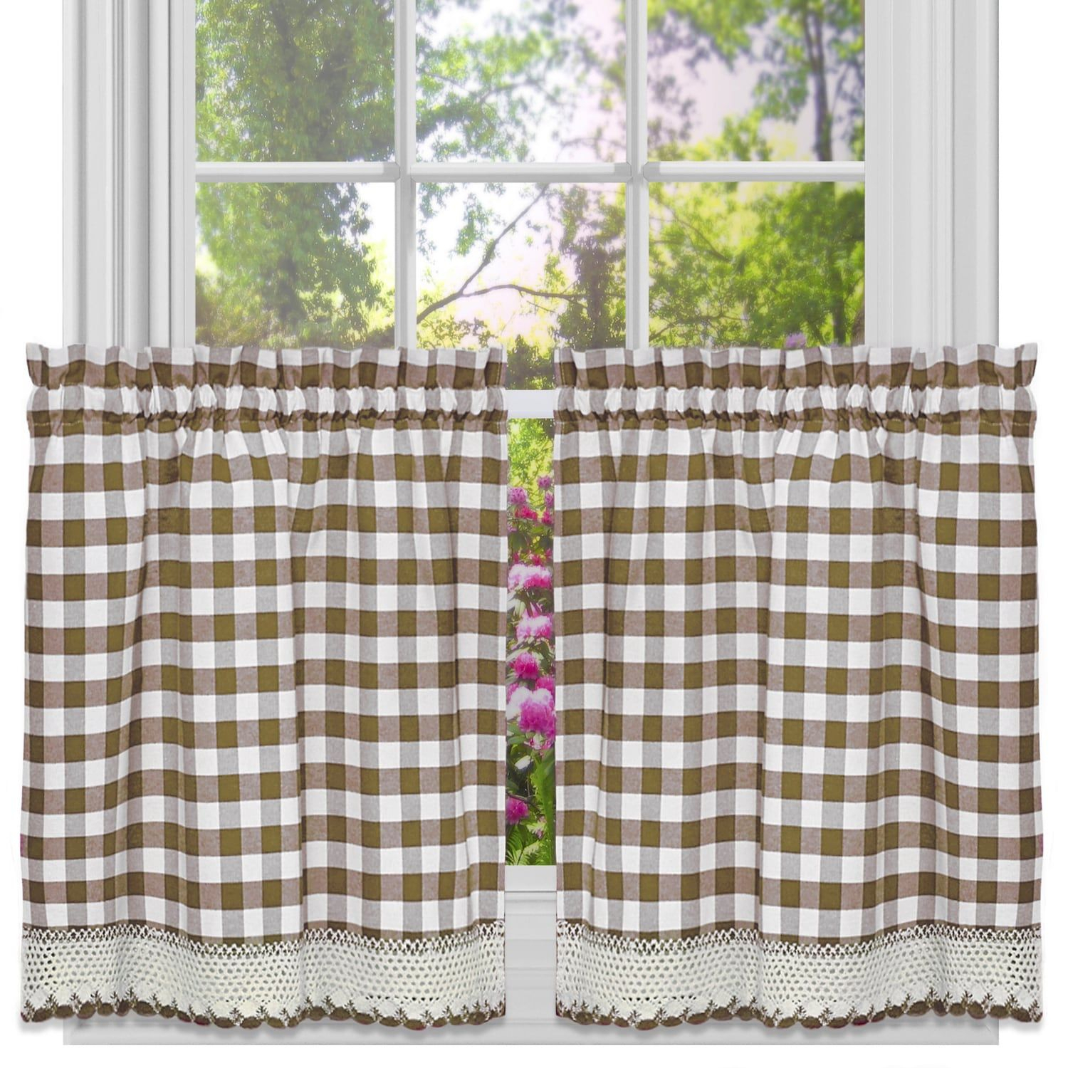 Classic Buffalo Check Kitchen Curtains (Tier Pair 24X58 Within Classic Kitchen Curtain Sets (View 7 of 20)