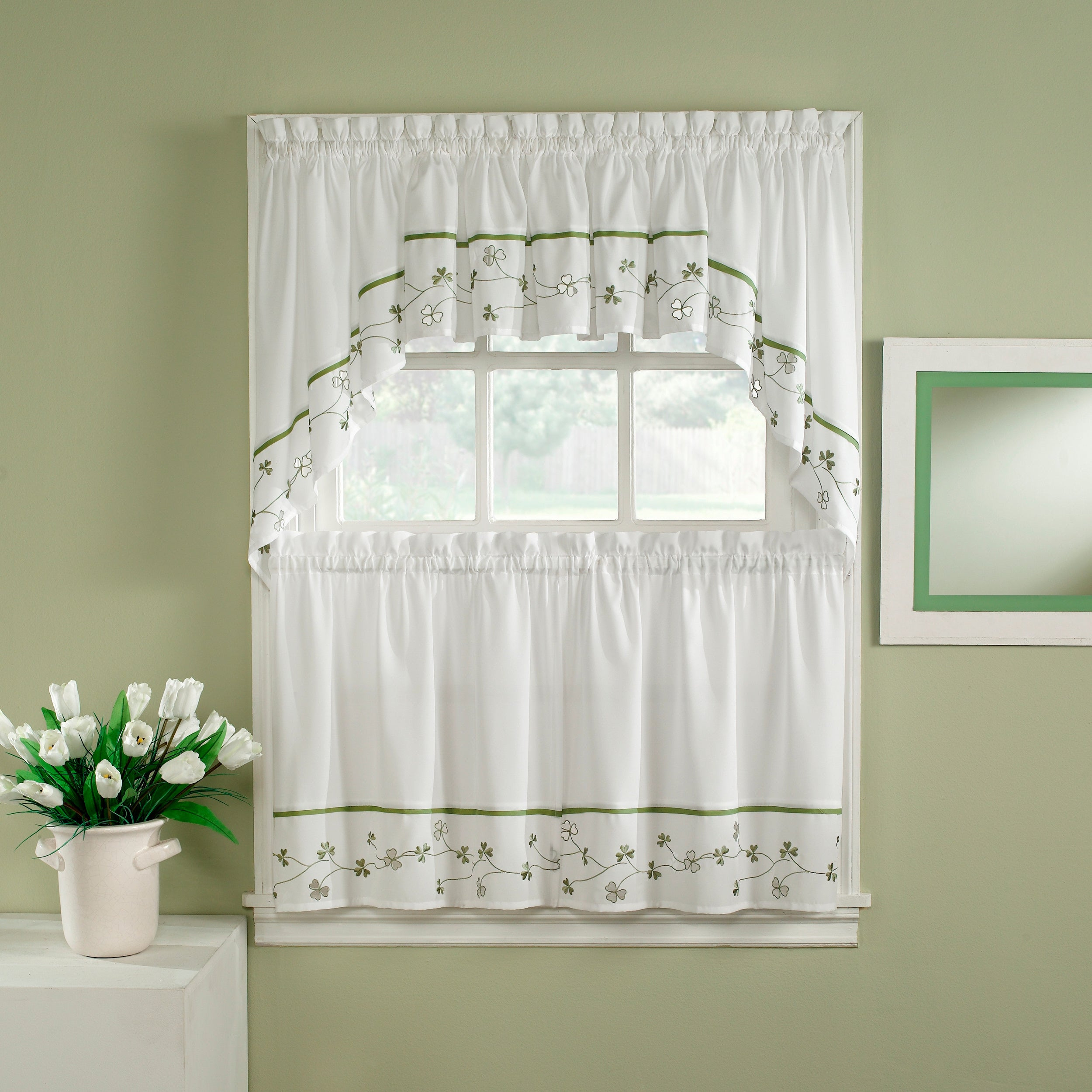 Clover Green/ White 5 Piece Curtain Tier And Swag Set Intended For Abby Embroidered 5 Piece Curtain Tier And Swag Sets (Image 7 of 20)