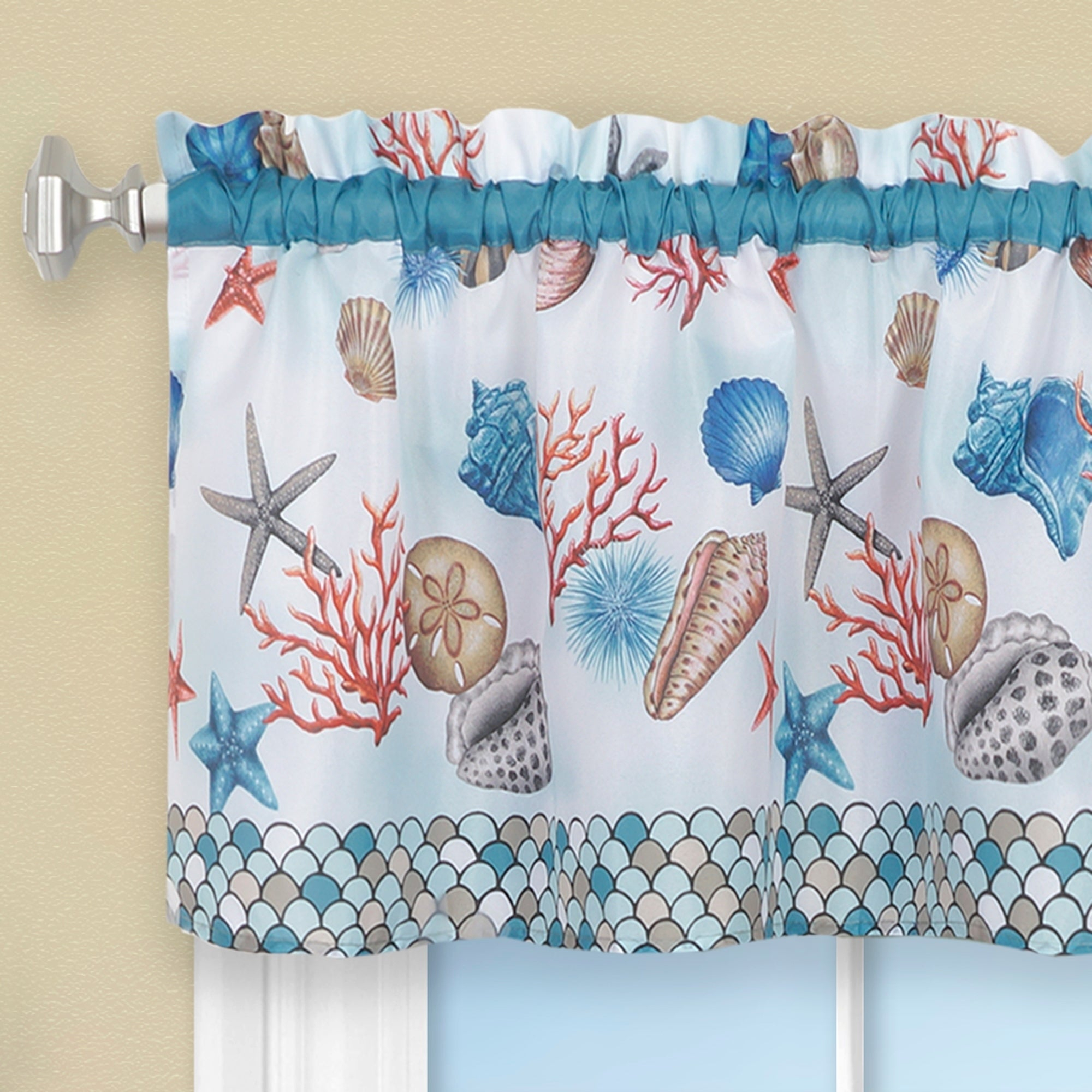 Coastal Tier And Valance Window Curtain Set – Blue With Seabreeze 36 Inch Tier Pairs In Ocean (View 2 of 20)