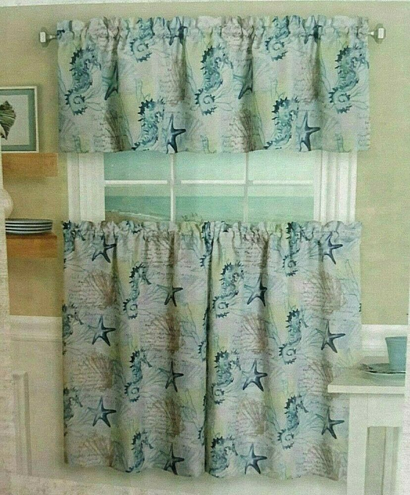 "Coastal Tiers And Valance Set 36"" L Seahorse Nautical Beach With Regard To Coastal Tier And Valance Window Curtain Sets (View 11 of 20)"