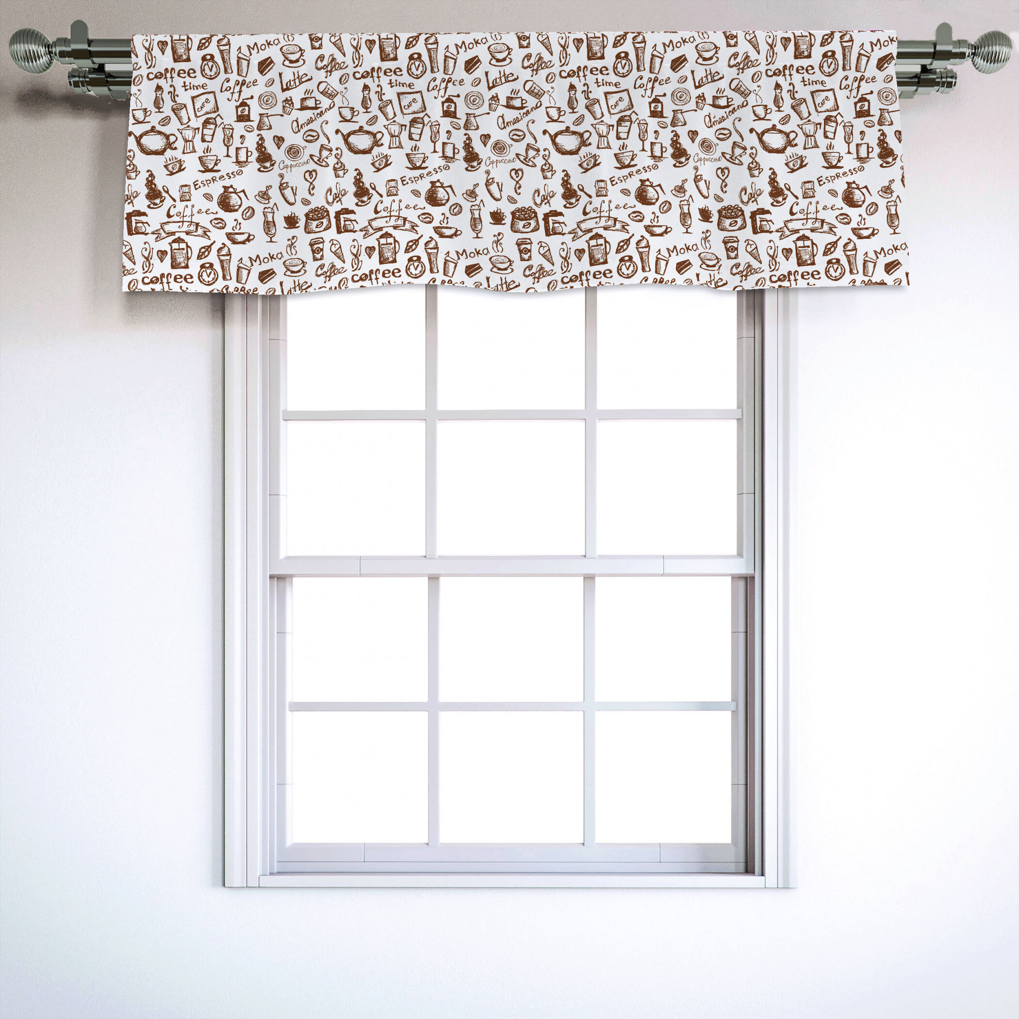 """Coffee 54"""" Window Valance Throughout Coffee Drinks Embroidered Window Valances And Tiers (View 4 of 20)"""