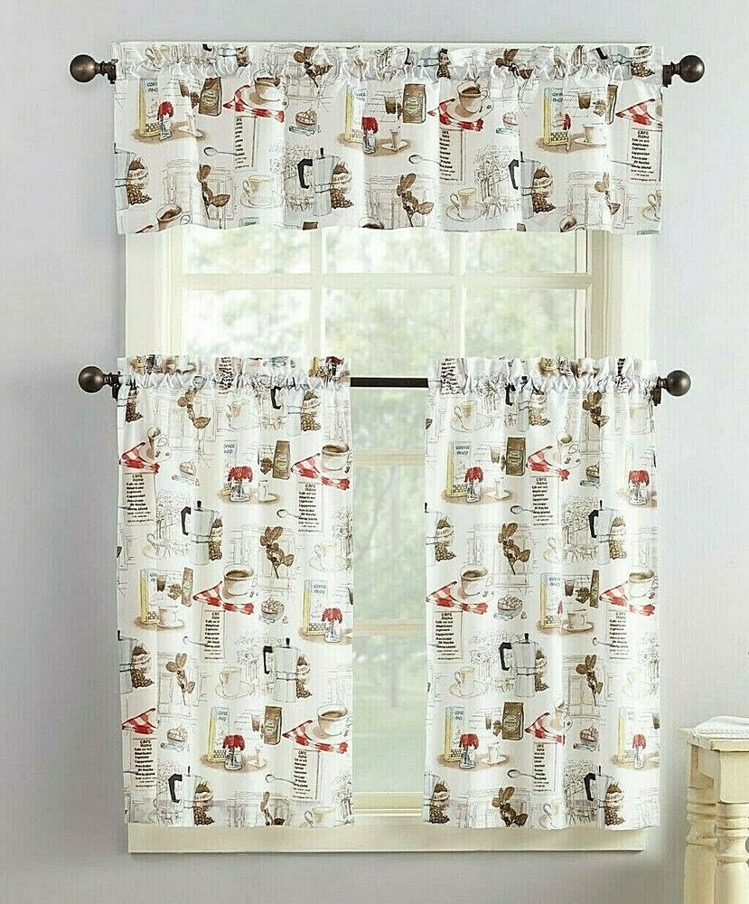 Coffee Shop Tier And Valance Curtain Set 3 Piece White Brown Microfiber Kitchen | Ebay With Traditional Two Piece Tailored Tier And Valance Window Curtains (View 16 of 20)