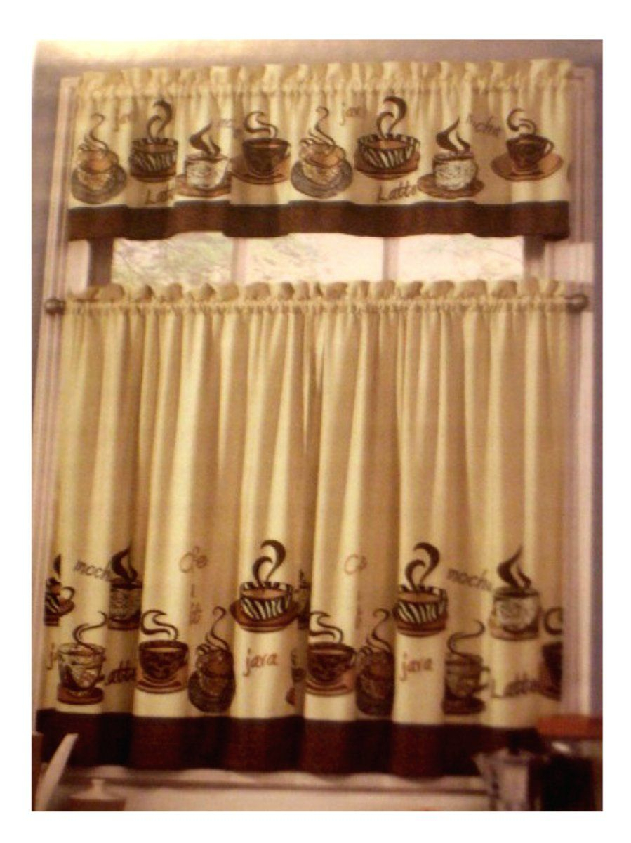 Coffee Themed Kitchen Curtains Tiers Valance Set | Kitchens With Coffee Embroidered Kitchen Curtain Tier Sets (View 3 of 20)