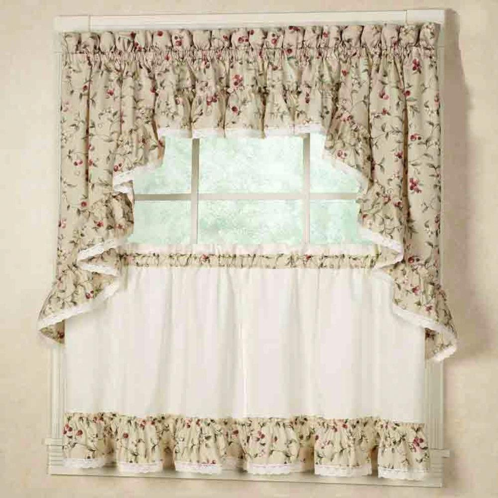 Competent Home Decor Rustic Style More Bonuses | Stunning With Cotton Lace 5 Piece Window Tier And Swag Sets (View 9 of 20)