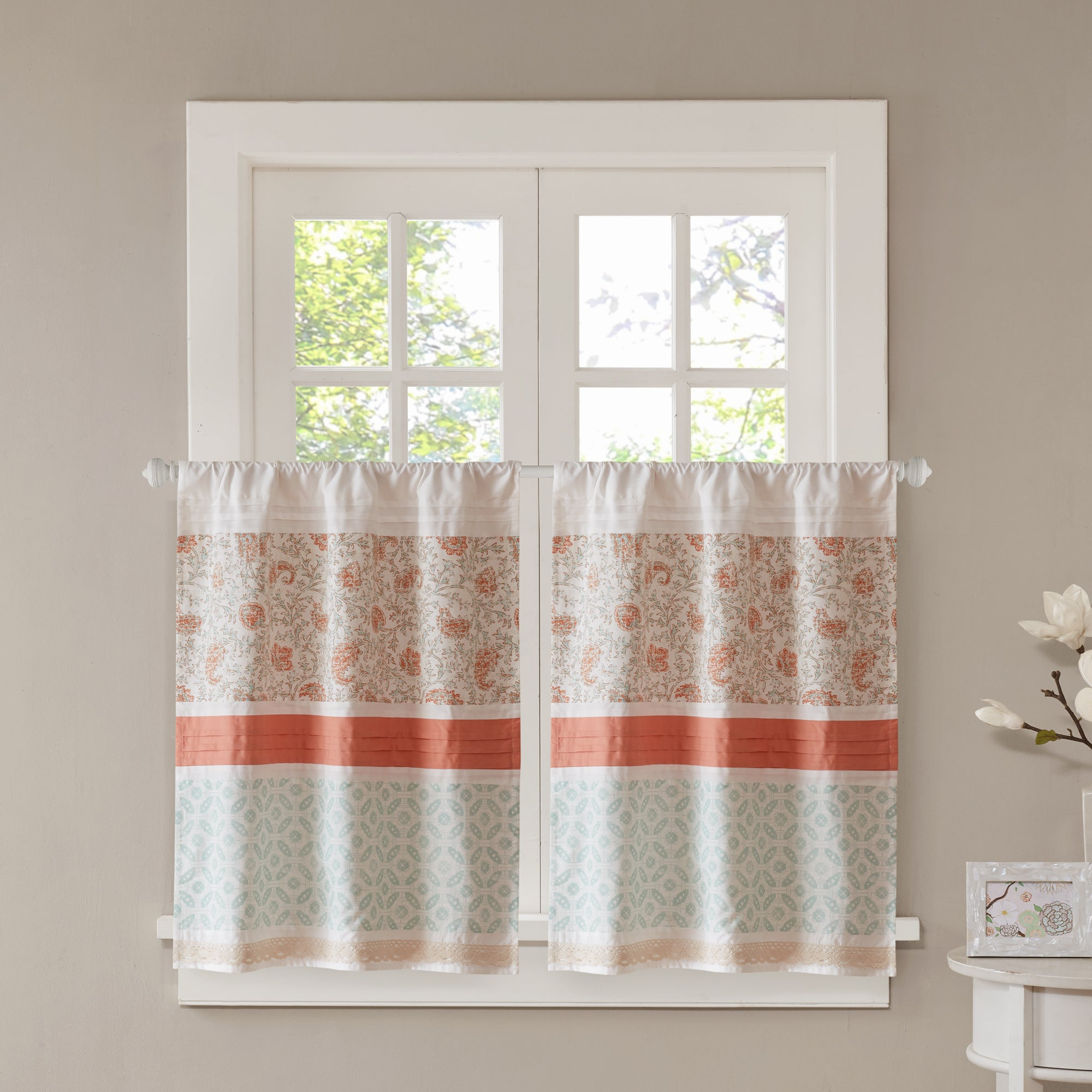 Copper Grove Aleza Printed And Pieces Rod Pocket Kitchen Tiers With Class Blue Cotton Blend Macrame Trimmed Decorative Window Curtains (View 9 of 20)