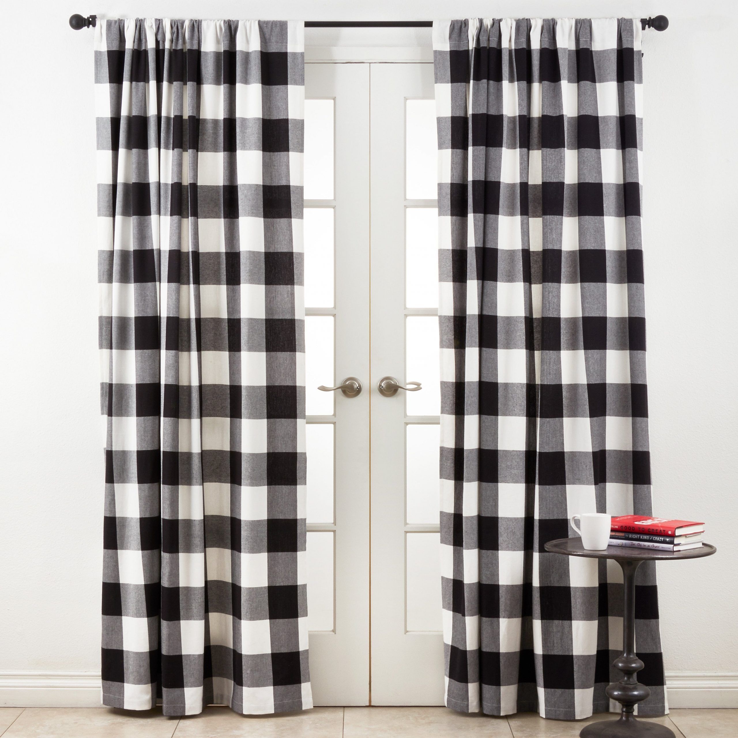Cotton Buffalo Plaid Curtains Pertaining To Grandin Curtain Valances In Black (View 18 of 20)