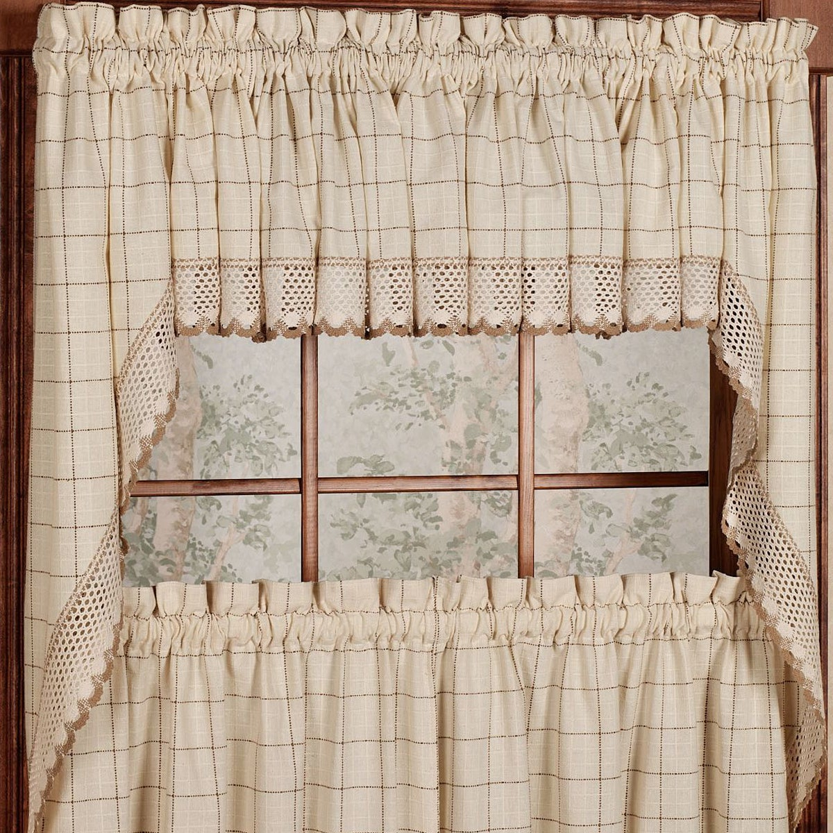 Cotton Classic Toast Window Pane Pattern And Crotchet Trim Tiers, Swags And Valance Options Throughout Cotton Classic Toast Window Pane Pattern And Crotchet Trim Tiers (View 5 of 20)