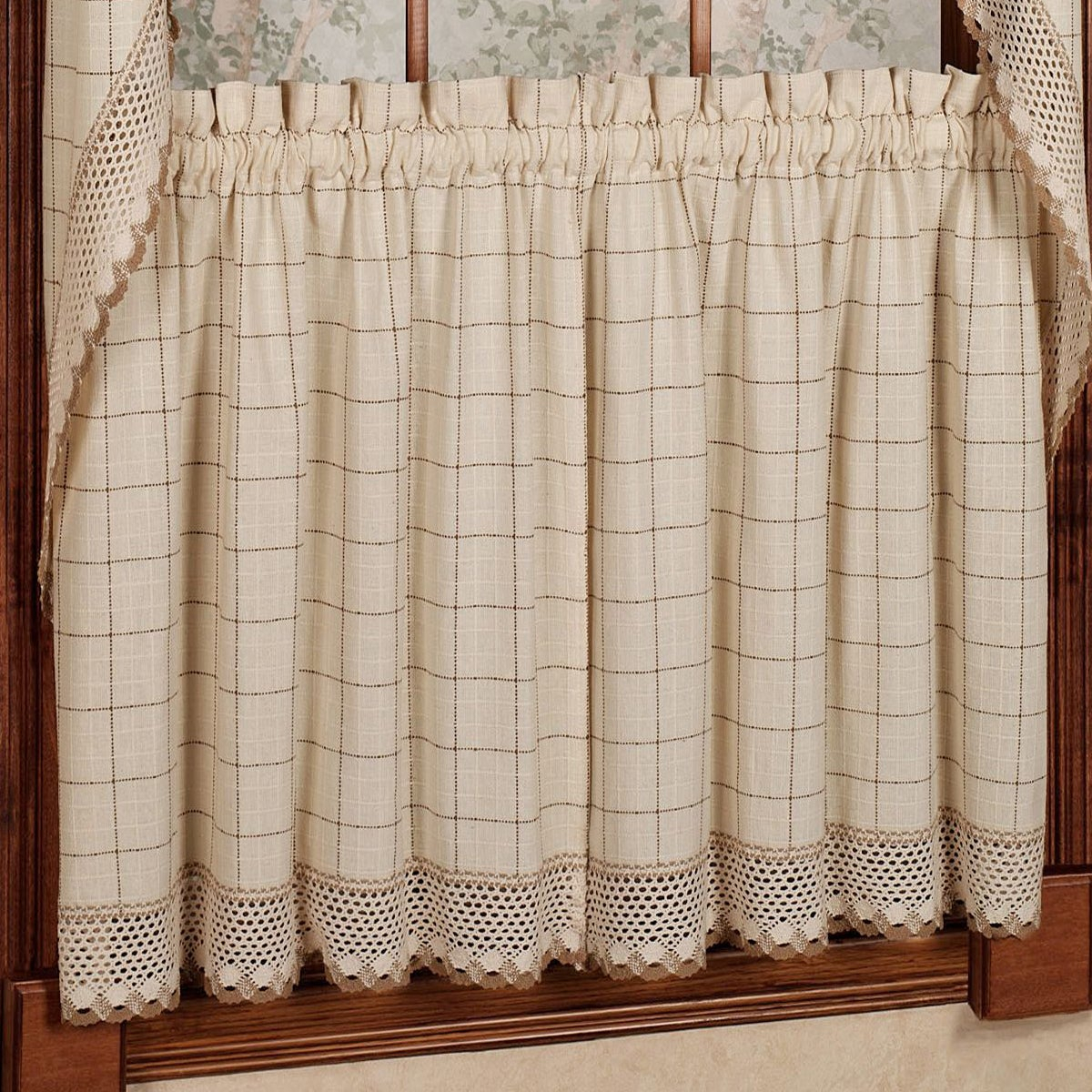 Cotton Classic Toast Window Pane Pattern And Crotchet Trim Tiers, Swags And Valance Options Throughout Cotton Lace 5 Piece Window Tier And Swag Sets (View 6 of 20)