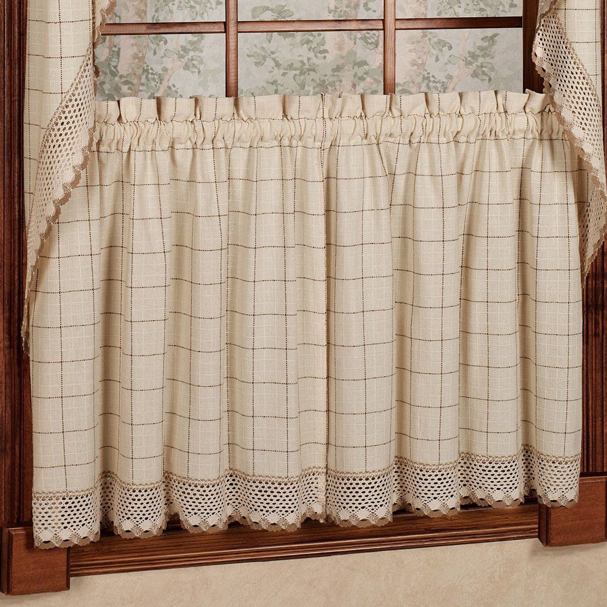 Cotton Classic Toast Window Pane Pattern And Crotchet Trim Tiers, Swags And Valance Options Within French Vanilla Country Style Curtain Parts With White Daisy Lace Accent (View 15 of 20)