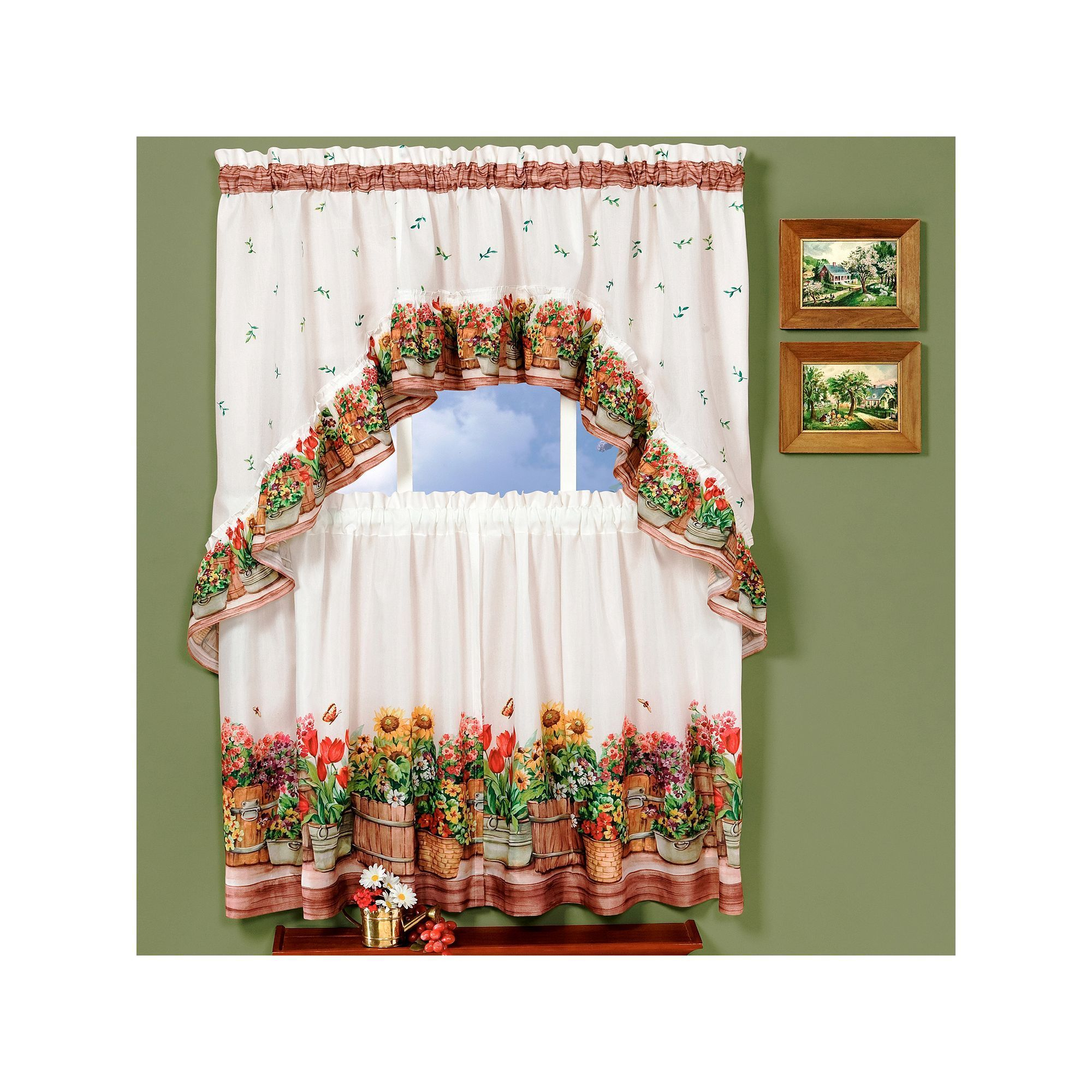 Country Garden 3 Piece Swag Tier Kitchen Window Curtain Set Pertaining To Cottage Ivy Curtain Tiers (View 5 of 20)