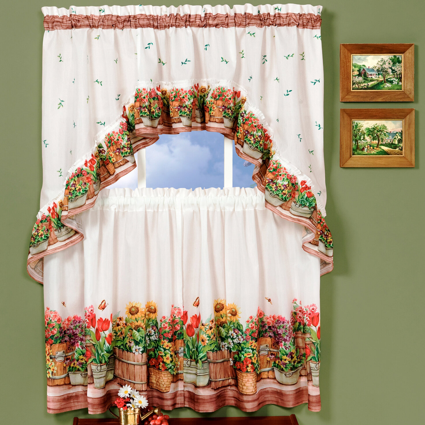 Country Garden Valance And Tier Set Regarding Chateau Wines Cottage Kitchen Curtain Tier And Valance Sets (View 9 of 20)