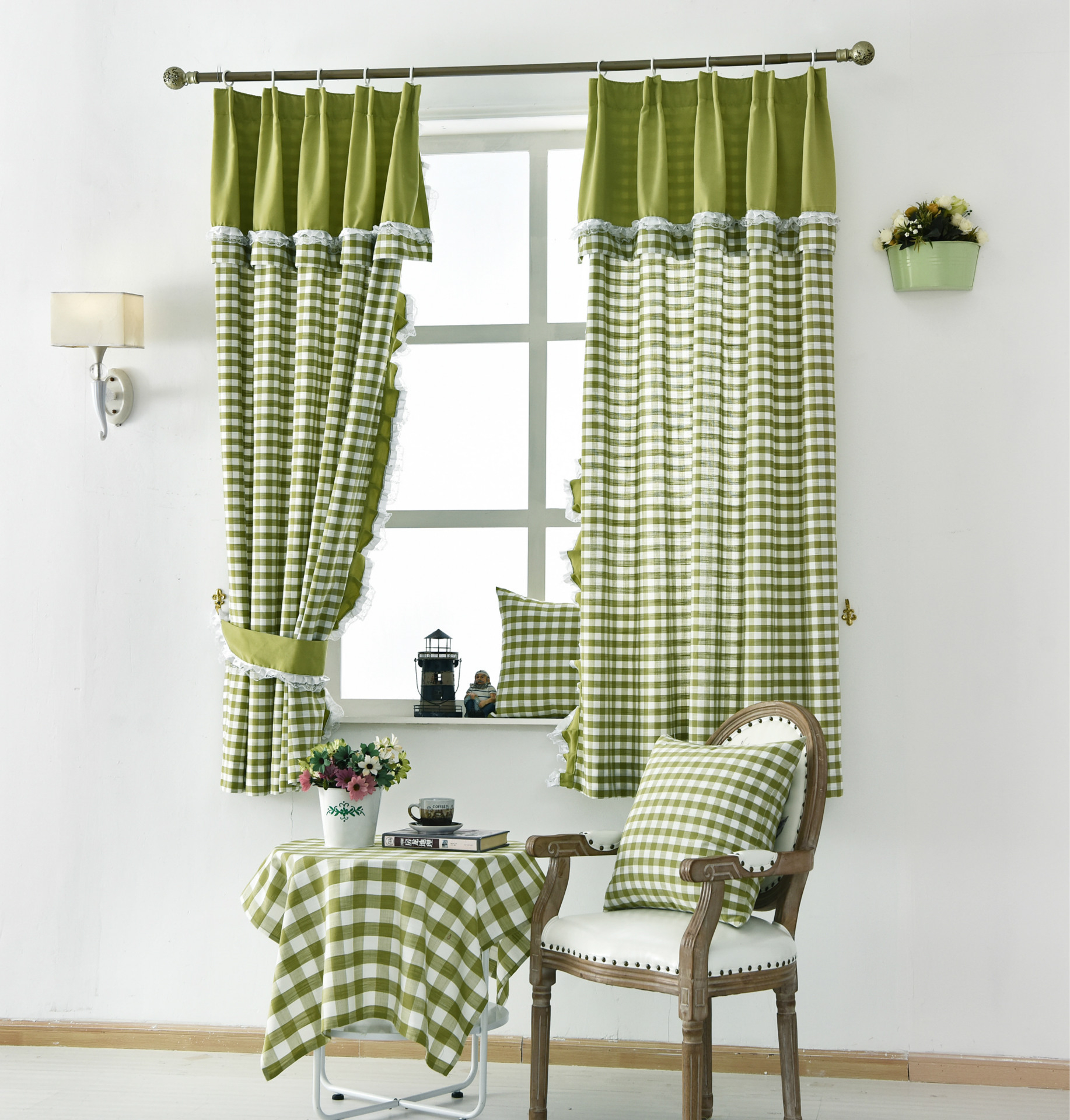 Country Green Buffalo Check Priscilla Kitchen Small Short Window Curtains In Classic Navy Cotton Blend Buffalo Check Kitchen Curtain Sets (View 14 of 20)