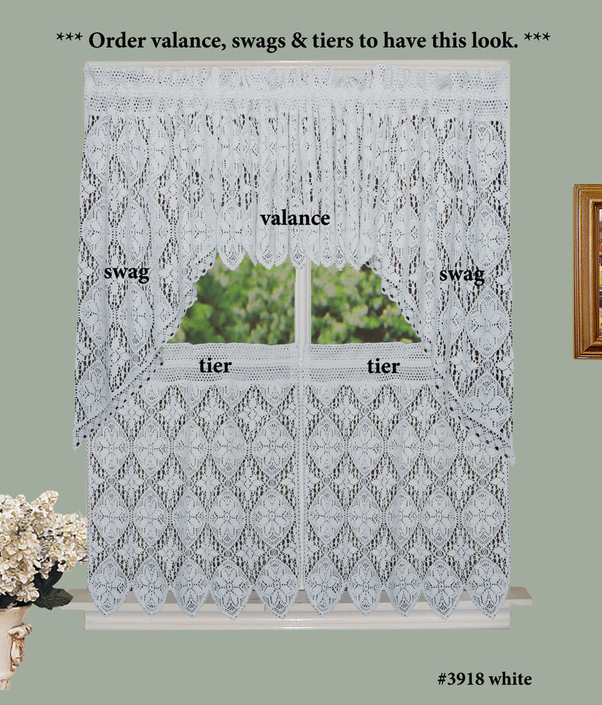 Crochet Lace Kitchen Curtain Valance Tier Or Swag White 100% Cotton Knitted | Ebay Pertaining To Cotton Lace 5 Piece Window Tier And Swag Sets (View 14 of 20)