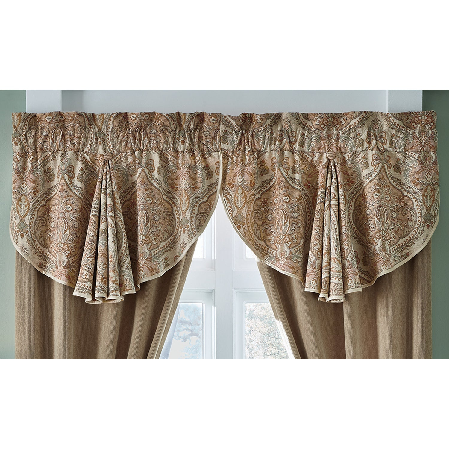 Croscill Birmingham Muticolor 24 Inch Circle Curtain Valance – 42 X 24 Regarding Circle Curtain Valances (View 6 of 20)