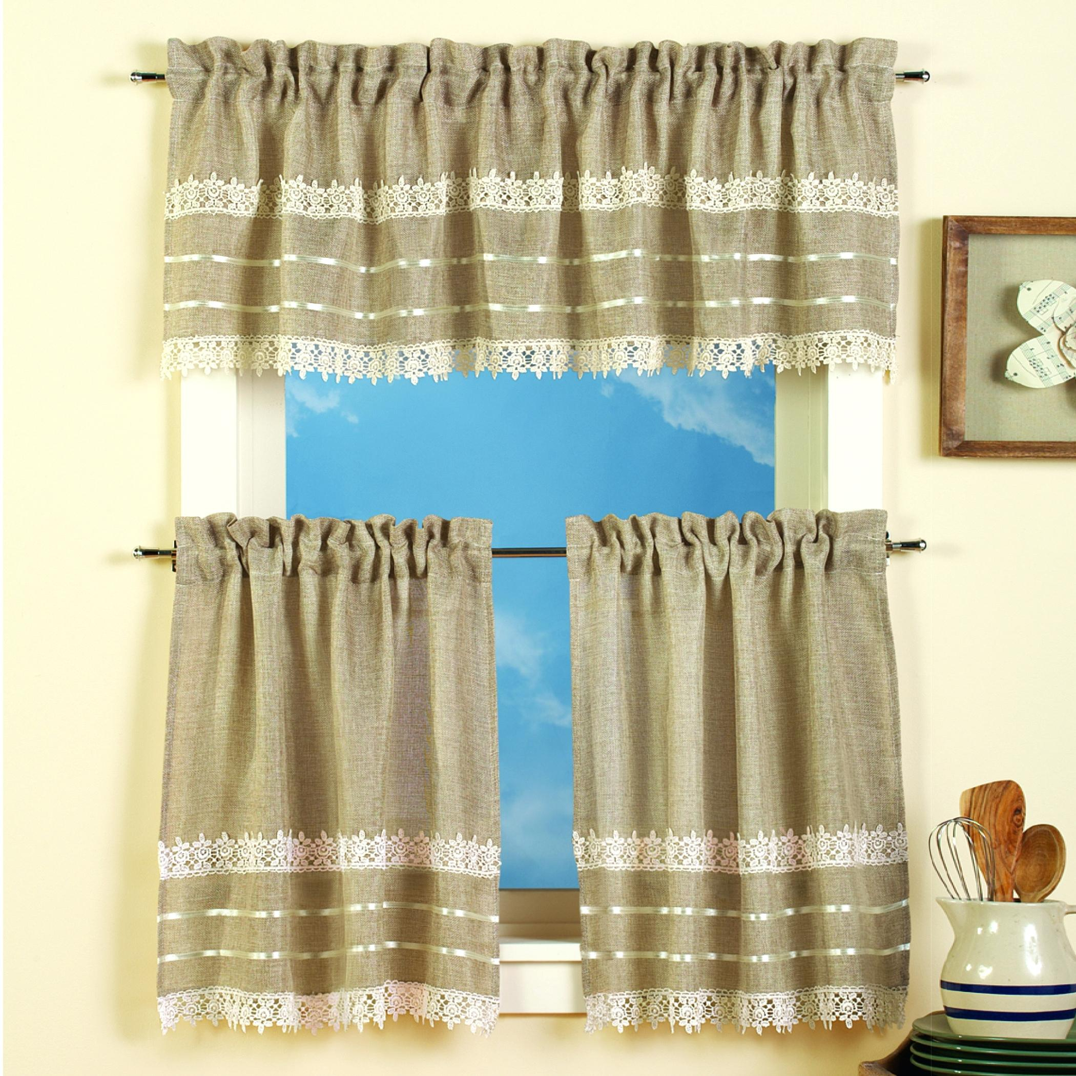 Curtain And Valance Set Inside Scroll Leaf 3 Piece Curtain Tier And Valance Sets (View 3 of 20)