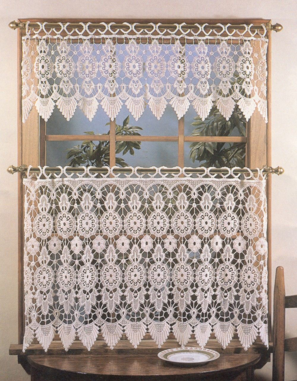 Curtain & Bath Outlet – Medallion Macrame Curtain Tier | Diy Inside French Vanilla Country Style Curtain Parts With White Daisy Lace Accent (View 17 of 20)