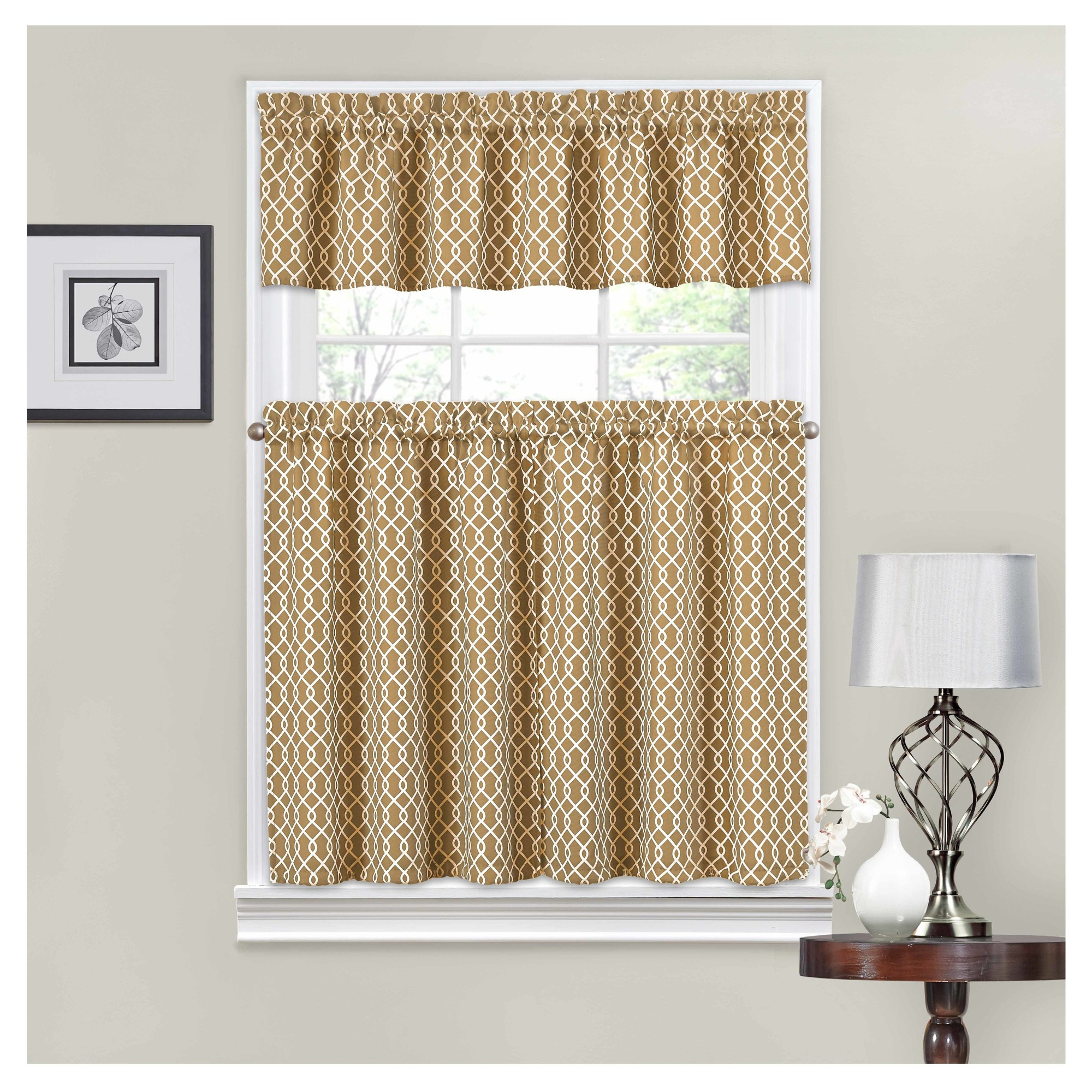 Curtain Tiers Traditions Bywaverly Blue Ivory Trellis Within Geometric Print Microfiber 3 Piece Kitchen Curtain Valance And Tiers Sets (View 10 of 20)