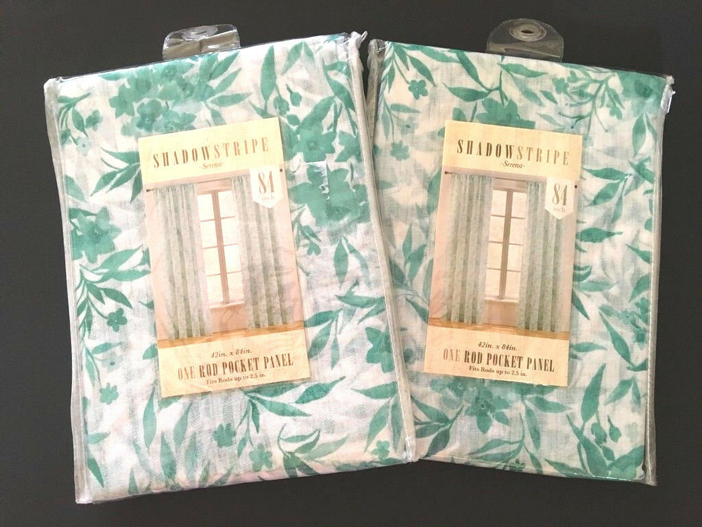 """Curtains Pair Of Rod Pocket Shadowstripe Serena Floral 84"""" Aqua White New With Regard To Serene Rod Pocket Kitchen Tier Sets (View 7 of 20)"""