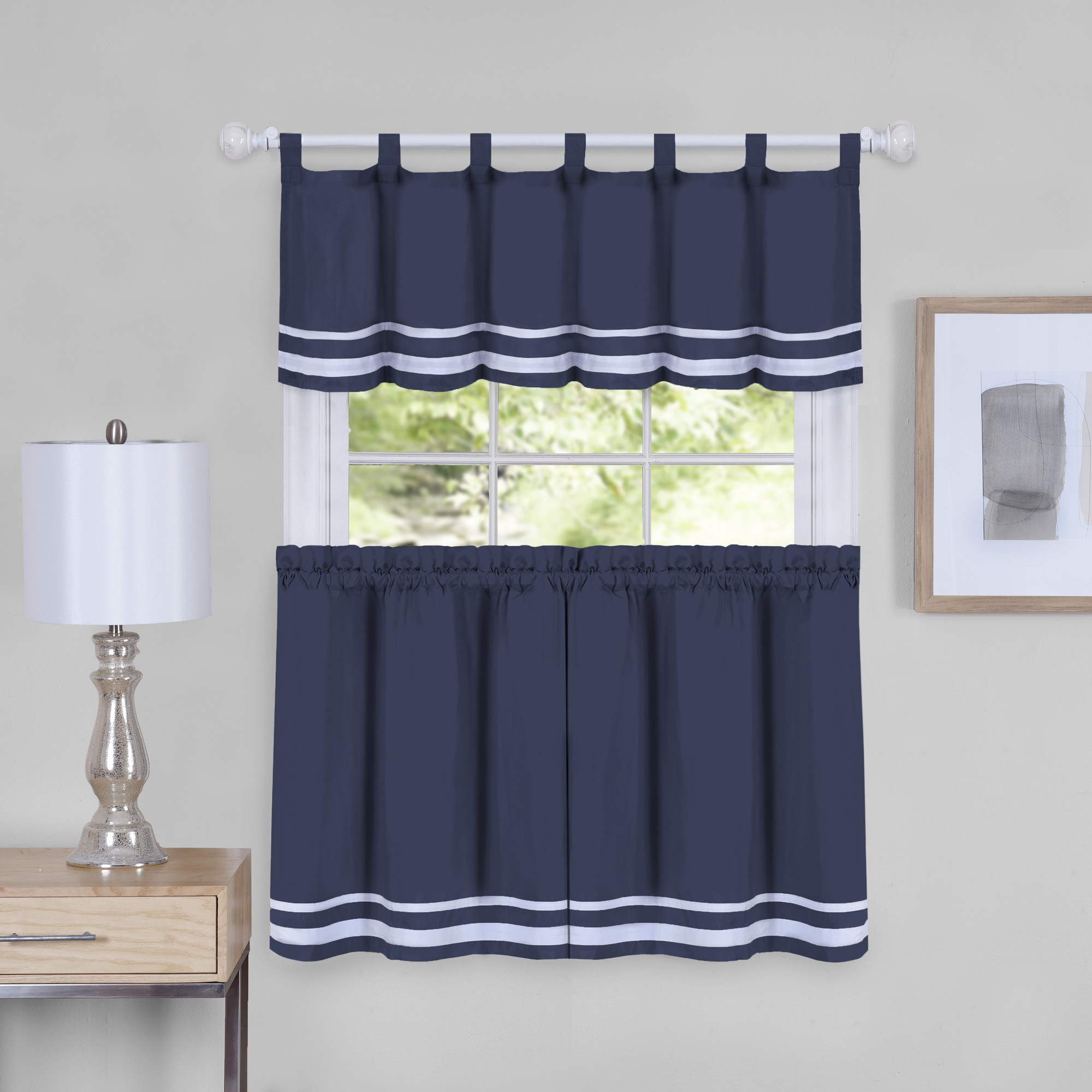 Dakota Window Curtain Tier Pair And Valance Set – Tier And Throughout Grey Window Curtain Tier And Valance Sets (View 17 of 20)