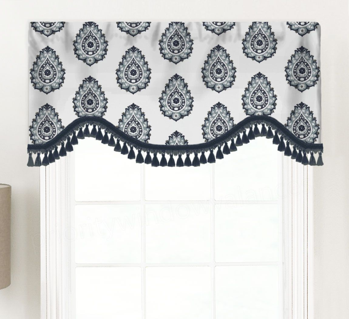 Damask (floral Medallion Print) Shaped Valance Curtain Throughout Medallion Window Curtain Valances (View 2 of 20)