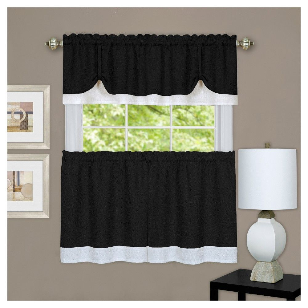 Darcy Window Curtain Tier And Valance Set Black/white (58 Pertaining To Grey Window Curtain Tier And Valance Sets (View 9 of 20)