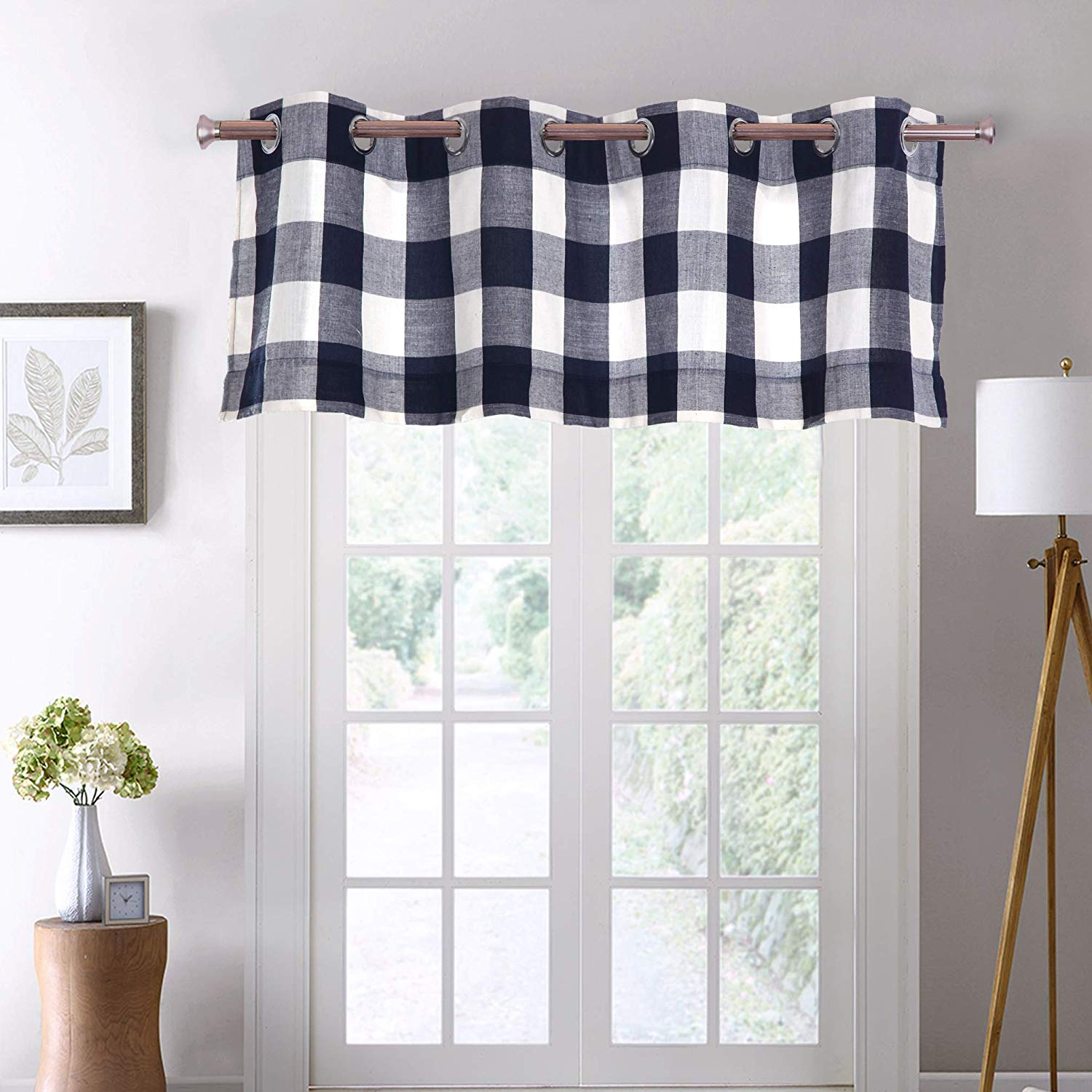 "Decotex 1 Piece Plaid Courtyard Buffalo Checkered Grommet Top Window Curtain Valance (1 Valance 53"" X 18"", Navy Blue/beige) – Walmart Throughout Classic Navy Cotton Blend Buffalo Check Kitchen Curtain Sets (View 18 of 20)"