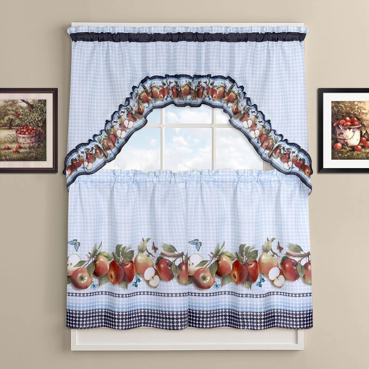 Delicious Apples Kitchen Curtain Tier And Valance Set Intended For Apple Orchard Printed Kitchen Tier Sets (View 2 of 20)