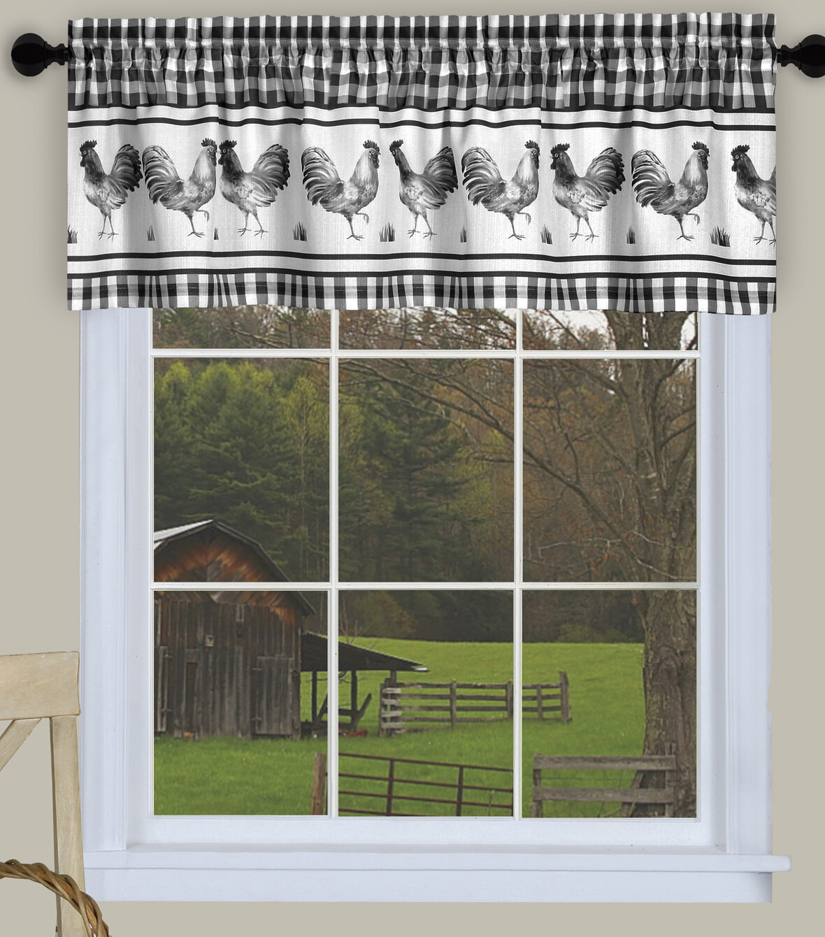 "Deraps 58"" Window Valance Regarding Barnyard Buffalo Check Rooster Window Valances (View 14 of 20)"