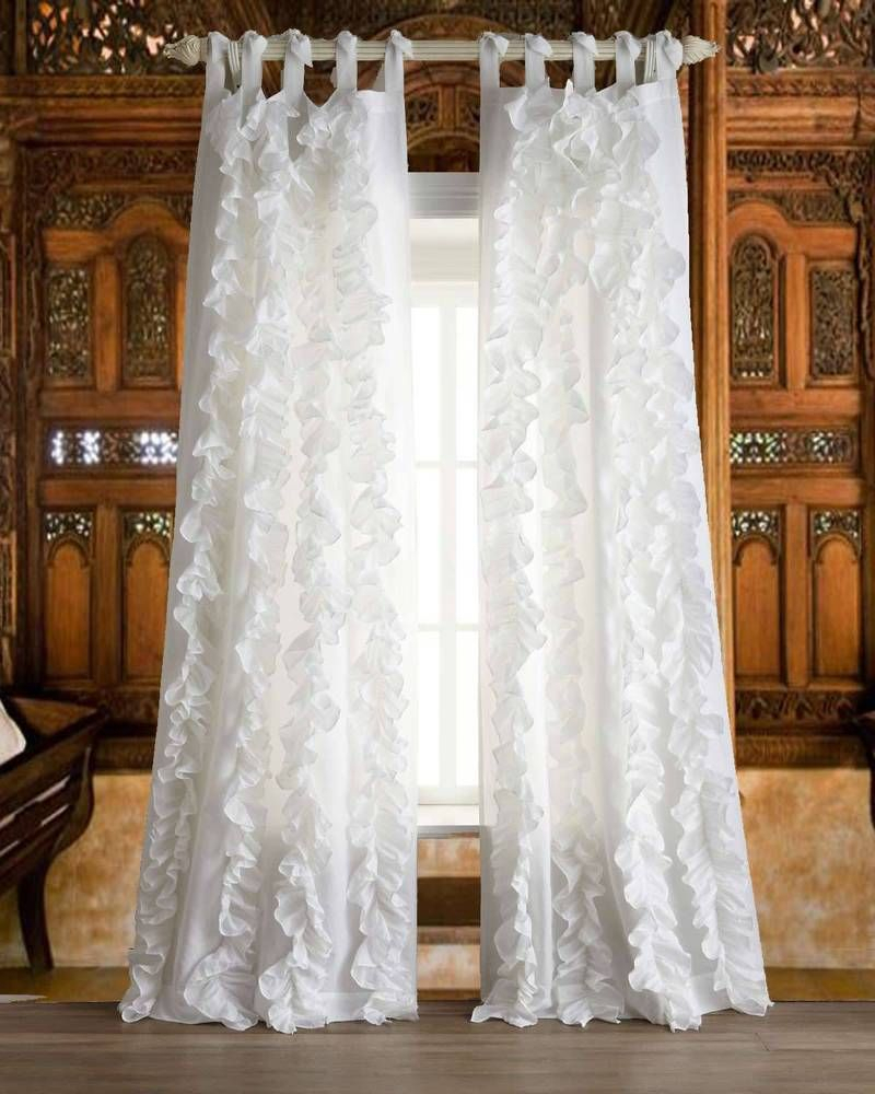 Details About 2 Pcs Charming Country Style Pink Flower Sheer In Chic Sheer Voile Vertical Ruffled Window Curtain Tiers (View 9 of 20)