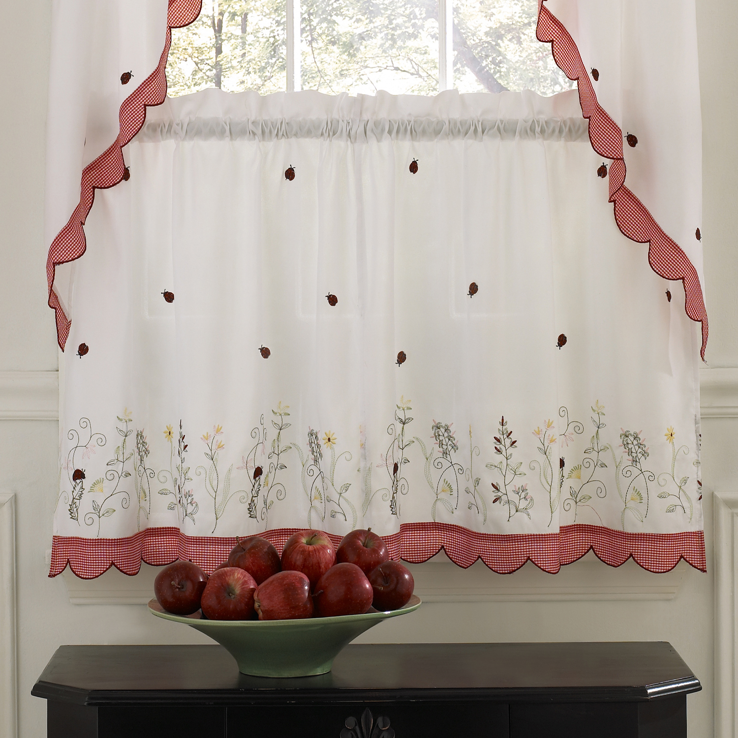 Featured Photo of Embroidered Ladybugs Window Curtain Pieces