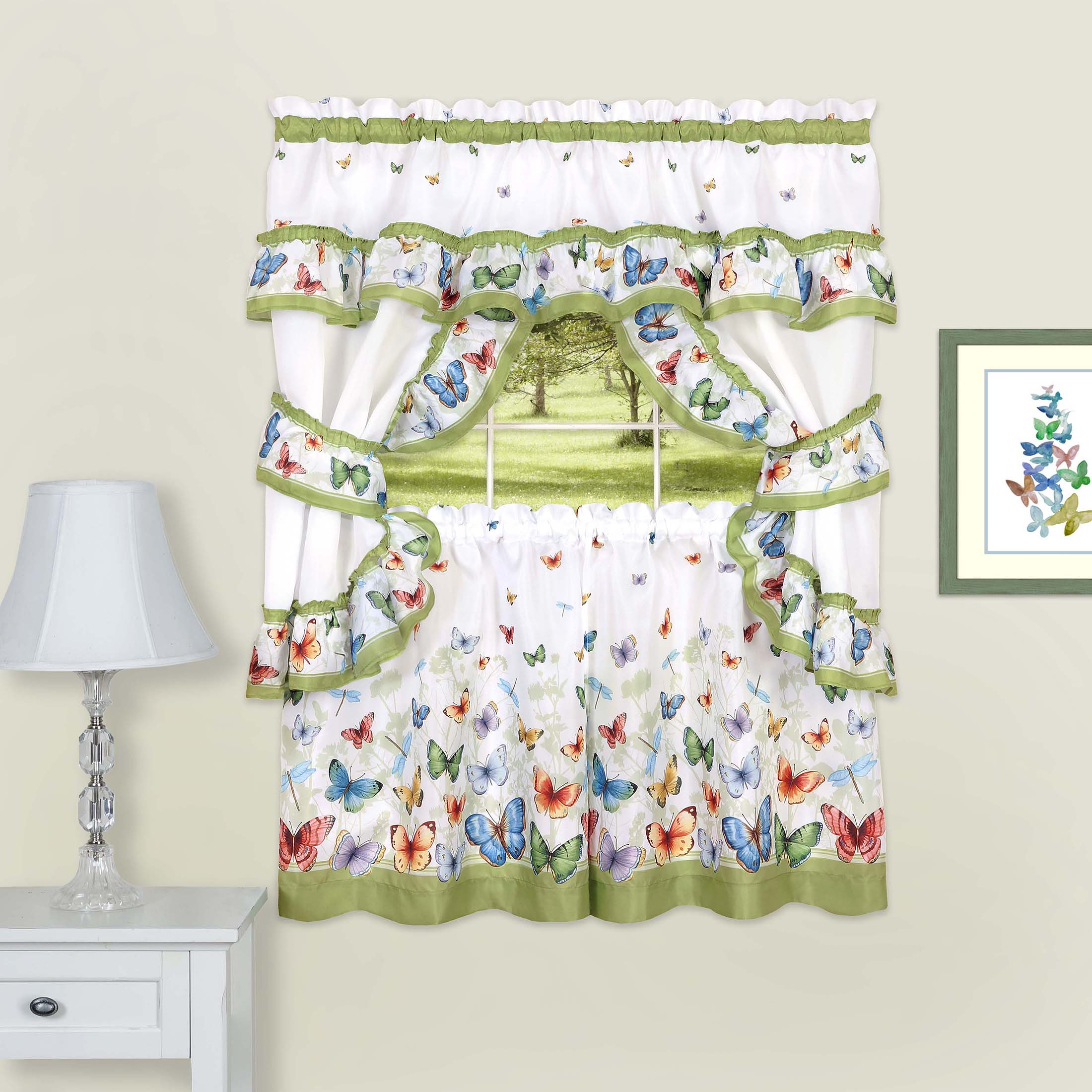 Details About 5C Window Kitchen Curtain Cottage Set, Butterflies, Tiers, Valance, Tiebacks Pertaining To Chateau Wines Cottage Kitchen Curtain Tier And Valance Sets (View 11 of 20)