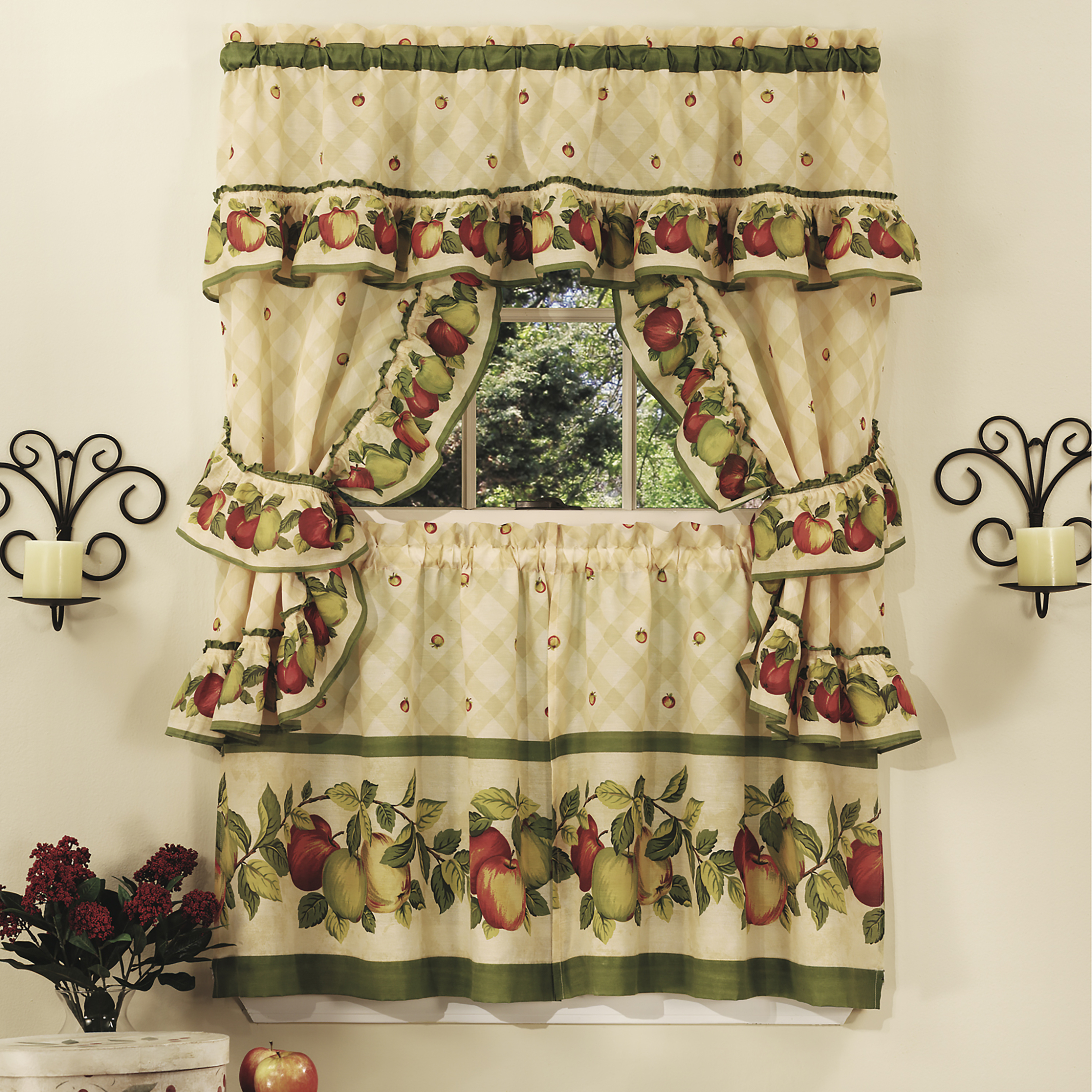 Details About 5Pc Window Kitchen Curtain Cottage Set, Apple Vines, Tiers, Valance, Tiebacks For Cottage Ivy Curtain Tiers (View 6 of 20)