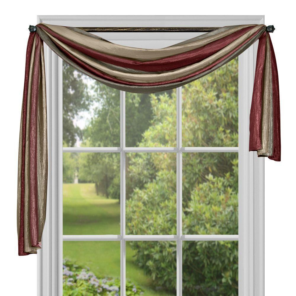 Details About Achim Ombre Window Curtain Scarf – 50 X 144 Burgundy 50 X 144 Inside Ivory Micro Striped Semi Sheer Window Curtain Pieces (View 7 of 20)