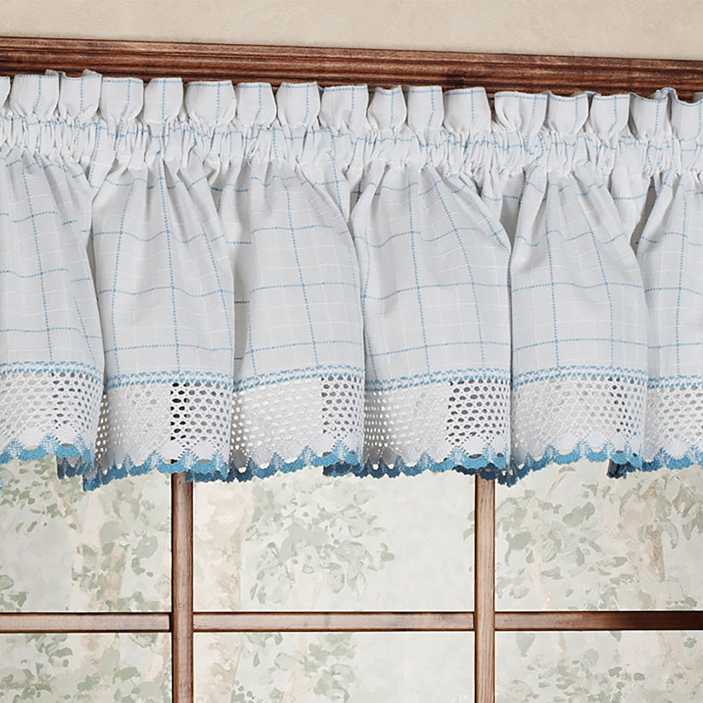 """Details About Adirondack Cotton Kitchen Window Curtains – 12"""" X 60"""" Valance Inside Cotton Classic Toast Window Pane Pattern And Crotchet Trim Tiers (View 6 of 20)"""