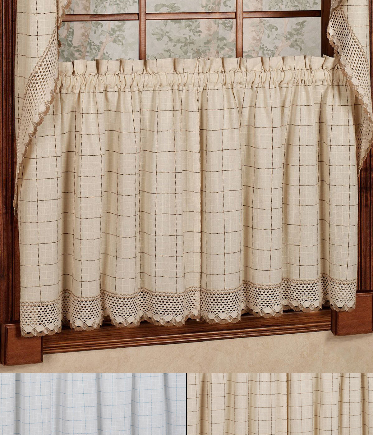 """Details About Adirondack Cotton Kitchen Window Curtains – 24"""" X 60"""" Tier Pair With Regard To Cotton Classic Toast Window Pane Pattern And Crotchet Trim Tiers (View 7 of 20)"""