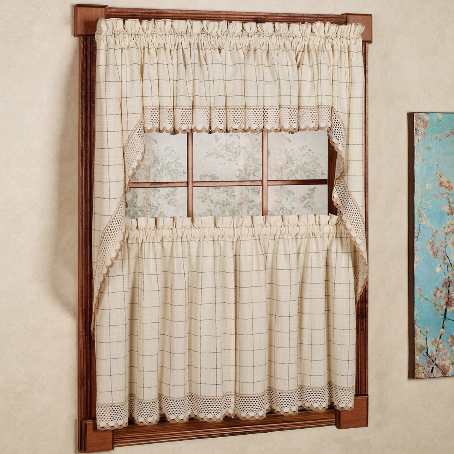 Details About Adirondack Cotton Kitchen Window Curtains – Toast – Tiers, Valance Or Swag Regarding Cotton Blend Classic Checkered Decorative Window Curtains (View 12 of 20)