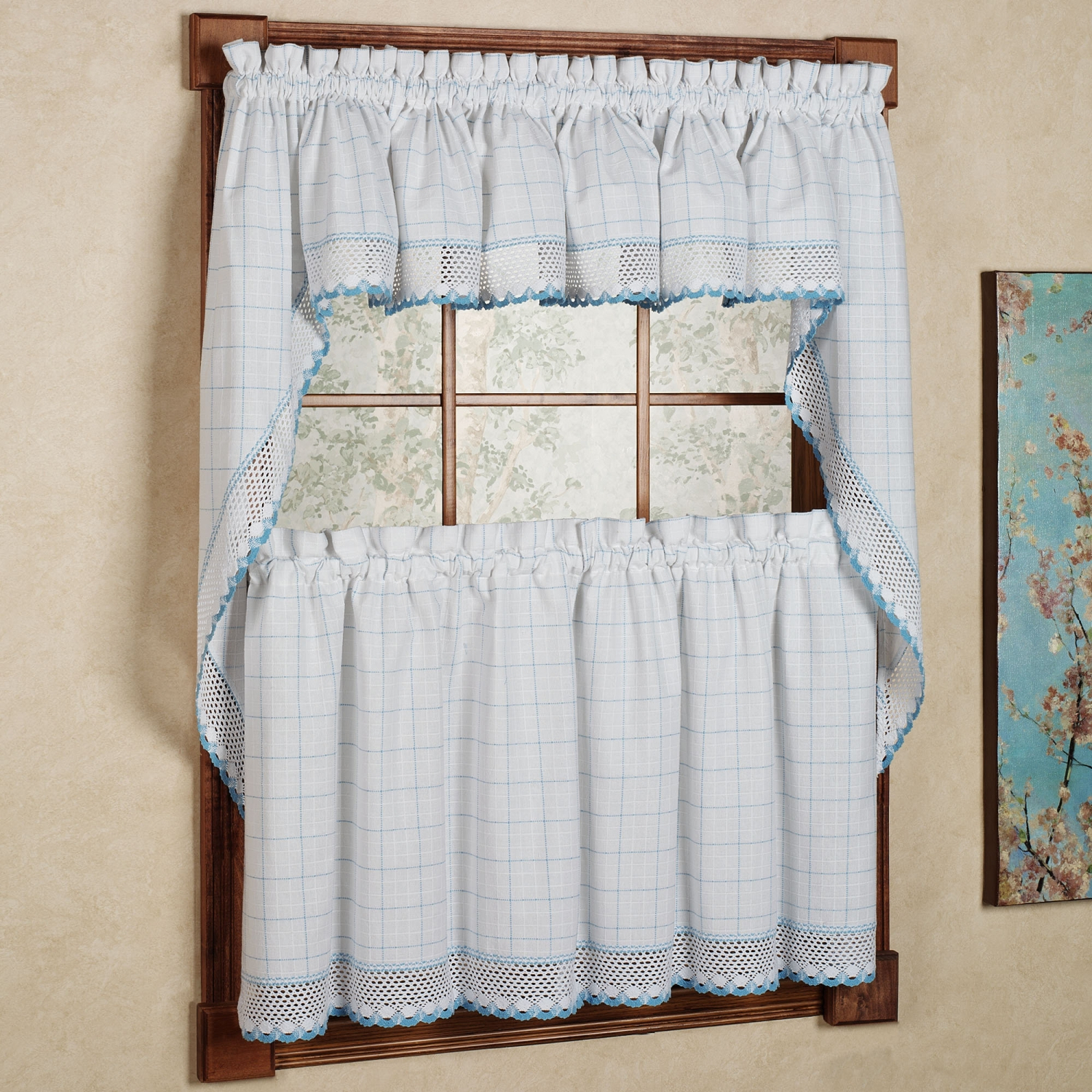 Details About Adirondack Cotton Kitchen Window Curtains – White/blue – Tiers, Valance Or Swag Throughout Cotton Classic Toast Window Pane Pattern And Crotchet Trim Tiers (View 8 of 20)