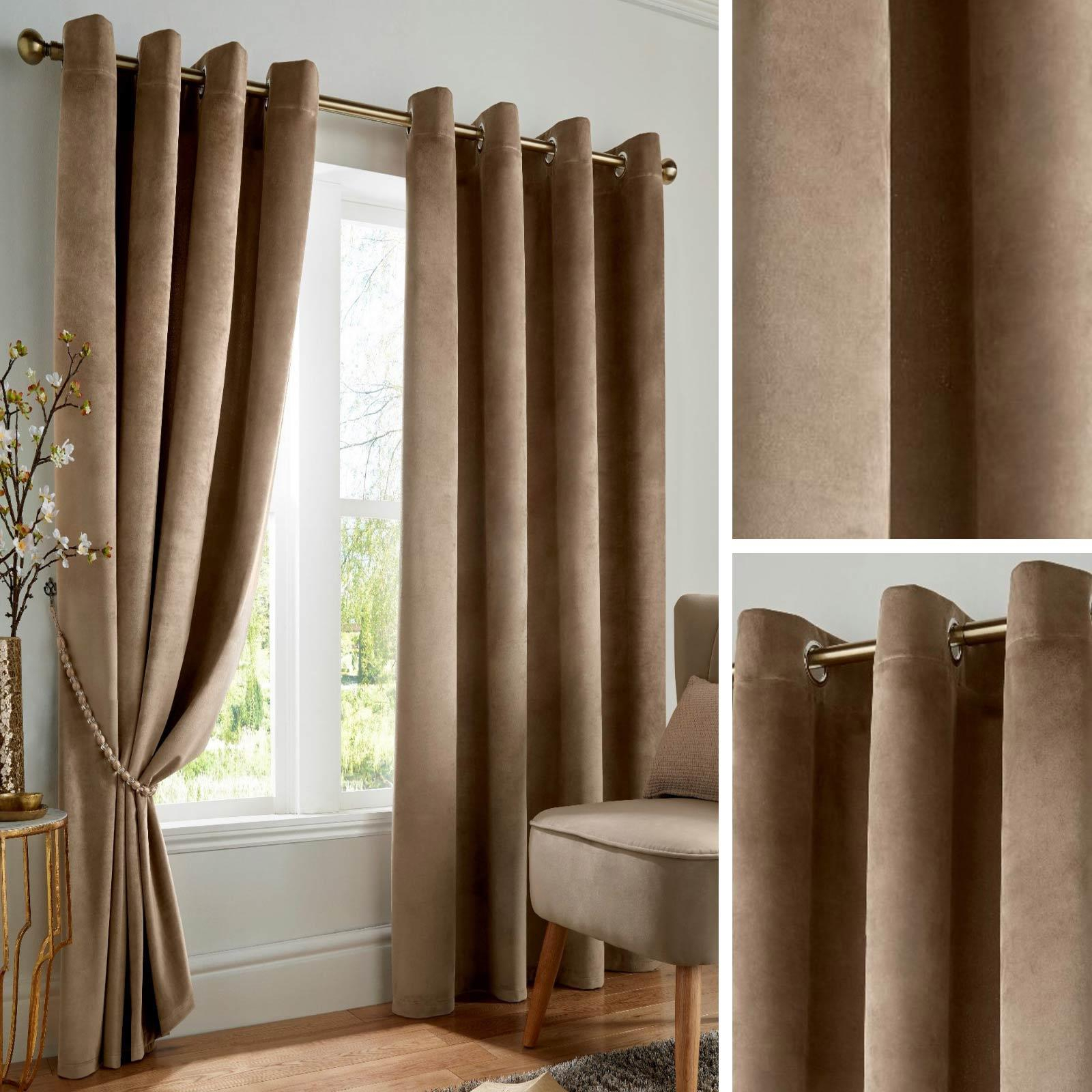 Details About Beige Blackout Curtains Velvet Thermal Eyelet Ready Made Ring Top Curtain Pairs For Glasgow Curtain Tier Sets (View 14 of 20)