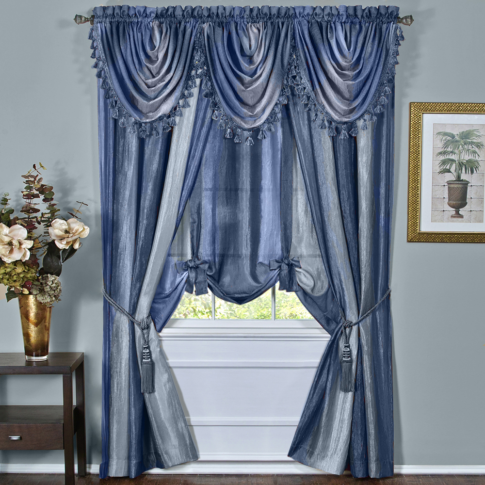 Details About Blue Striped Modern Semi Sheer Light Filtering Window Curtain Drape Full Set Intended For Micro Striped Semi Sheer Window Curtain Pieces (View 16 of 20)