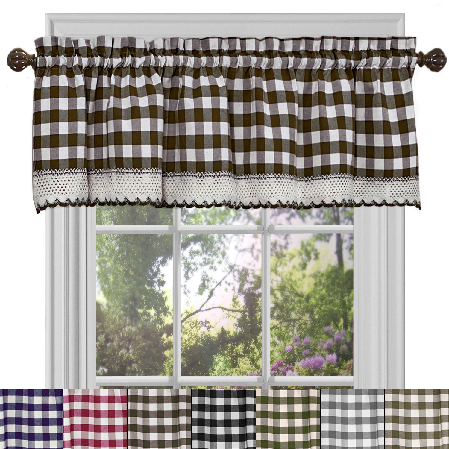 "Details About Buffalo Check Gingham Kitchen Curtain Valance - 14"" X 58"" for Barnyard Buffalo Check Rooster Window Valances (Image 15 of 20)"
