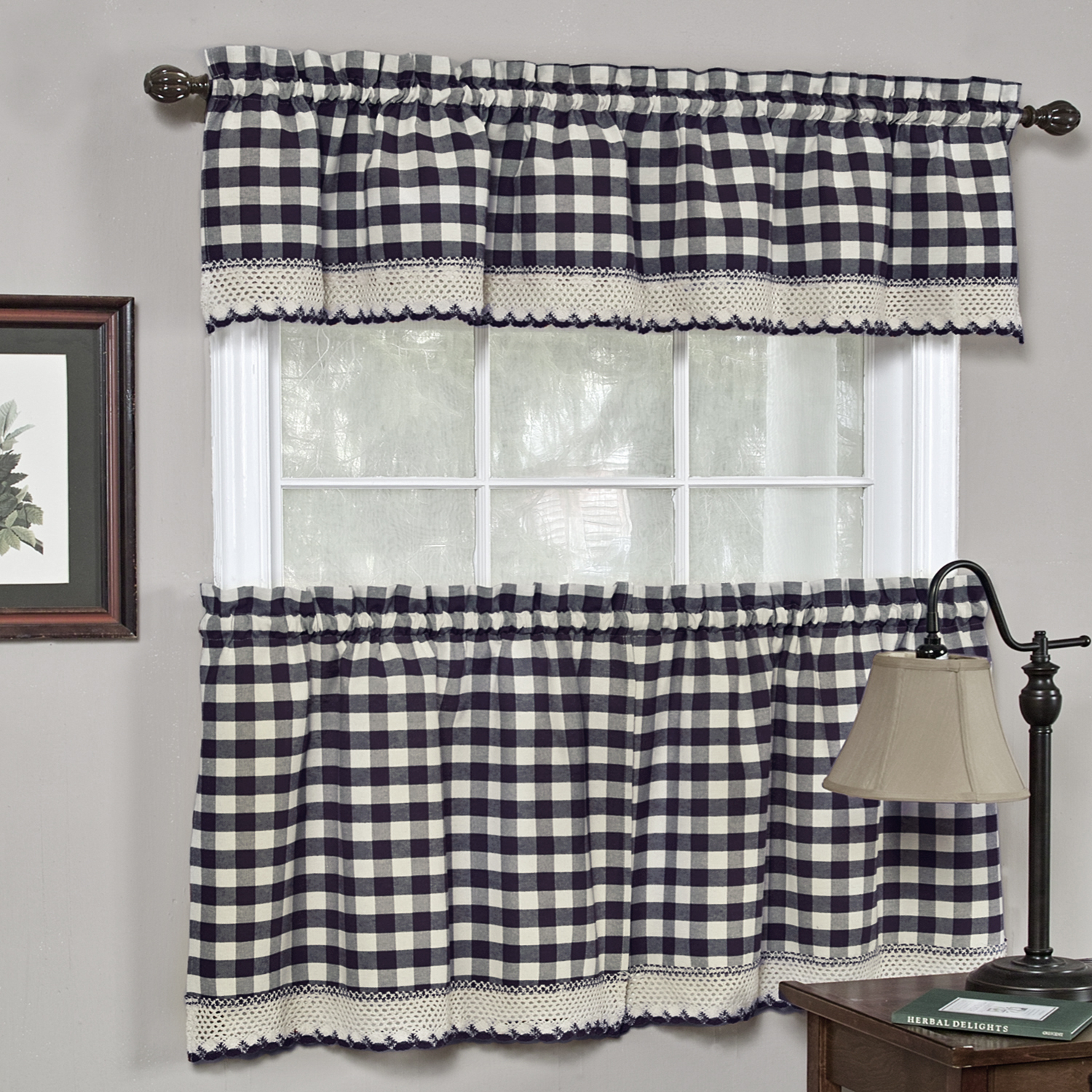 Details About Buffalo Check Gingham Kitchen Curtains Tiers Or Valance – Navy Within Classic Navy Cotton Blend Buffalo Check Kitchen Curtain Sets (View 2 of 20)