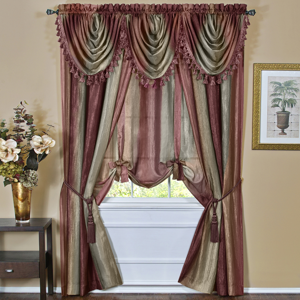 Details About Burgundy Striped Modern Semi Sheer Light Filtering Window Curtain Drape Set Throughout Luxury Light Filtering Straight Curtain Valances (View 13 of 20)