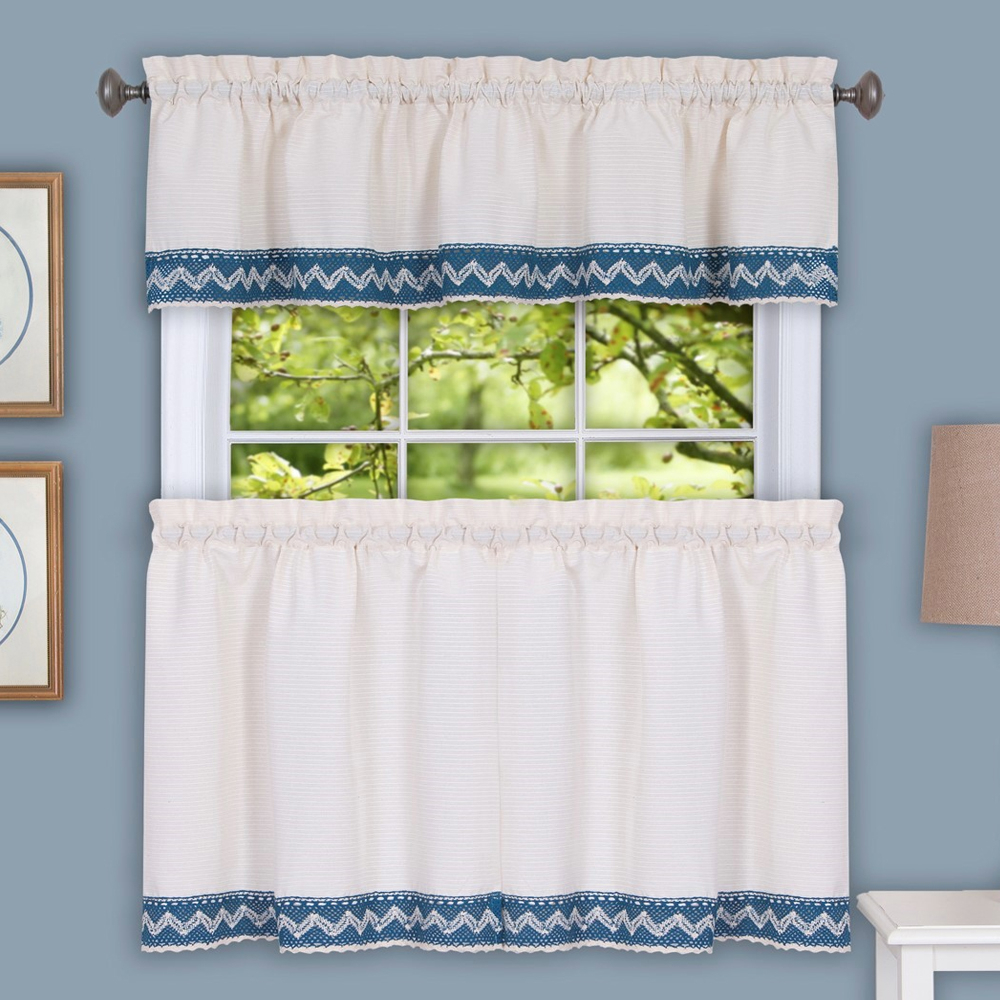Details About Camden Macrame Trimmed Beige & Blue Kitchen Window Curtain Tiers Or Valance Intended For Forest Valance And Tier Pair Curtains (View 16 of 20)