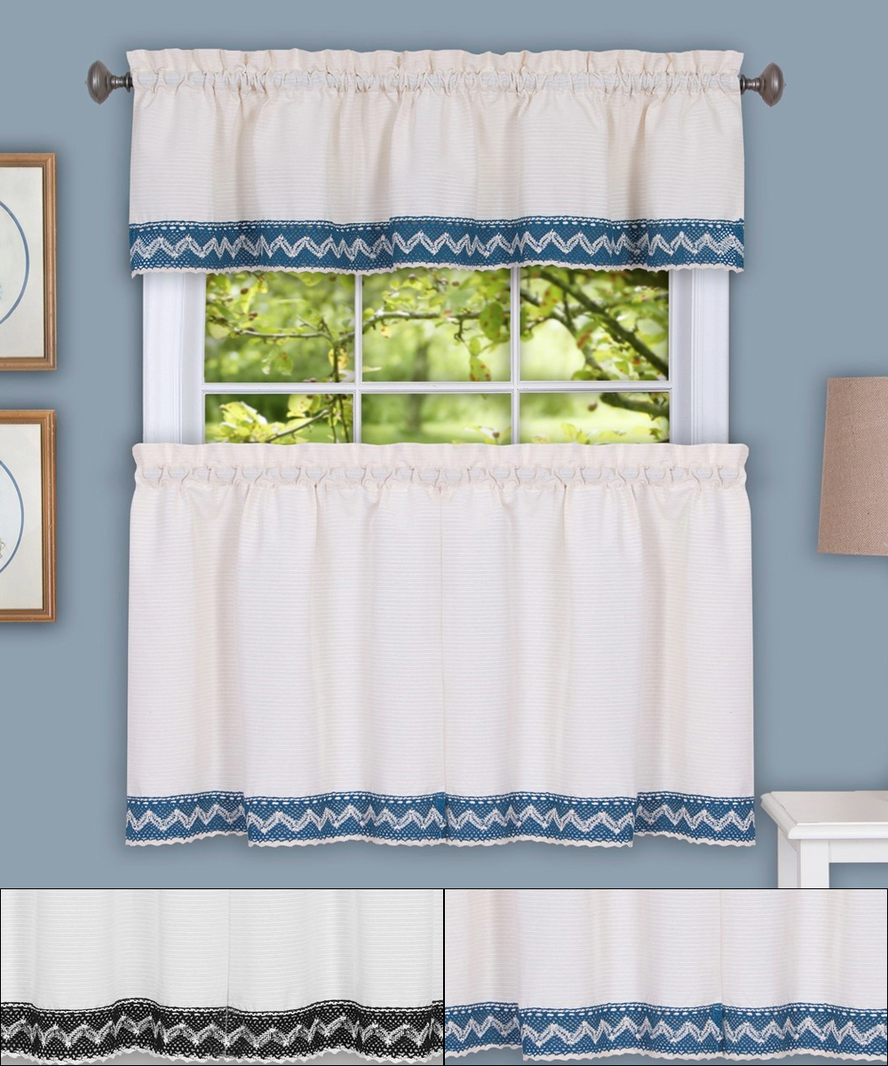 """Details About Camden Macrame Trimmed Kitchen Window Curtain 36"""" Tiers & Valance Set In Oakwood Linen Style Decorative Curtain Tier Sets (View 8 of 20)"""