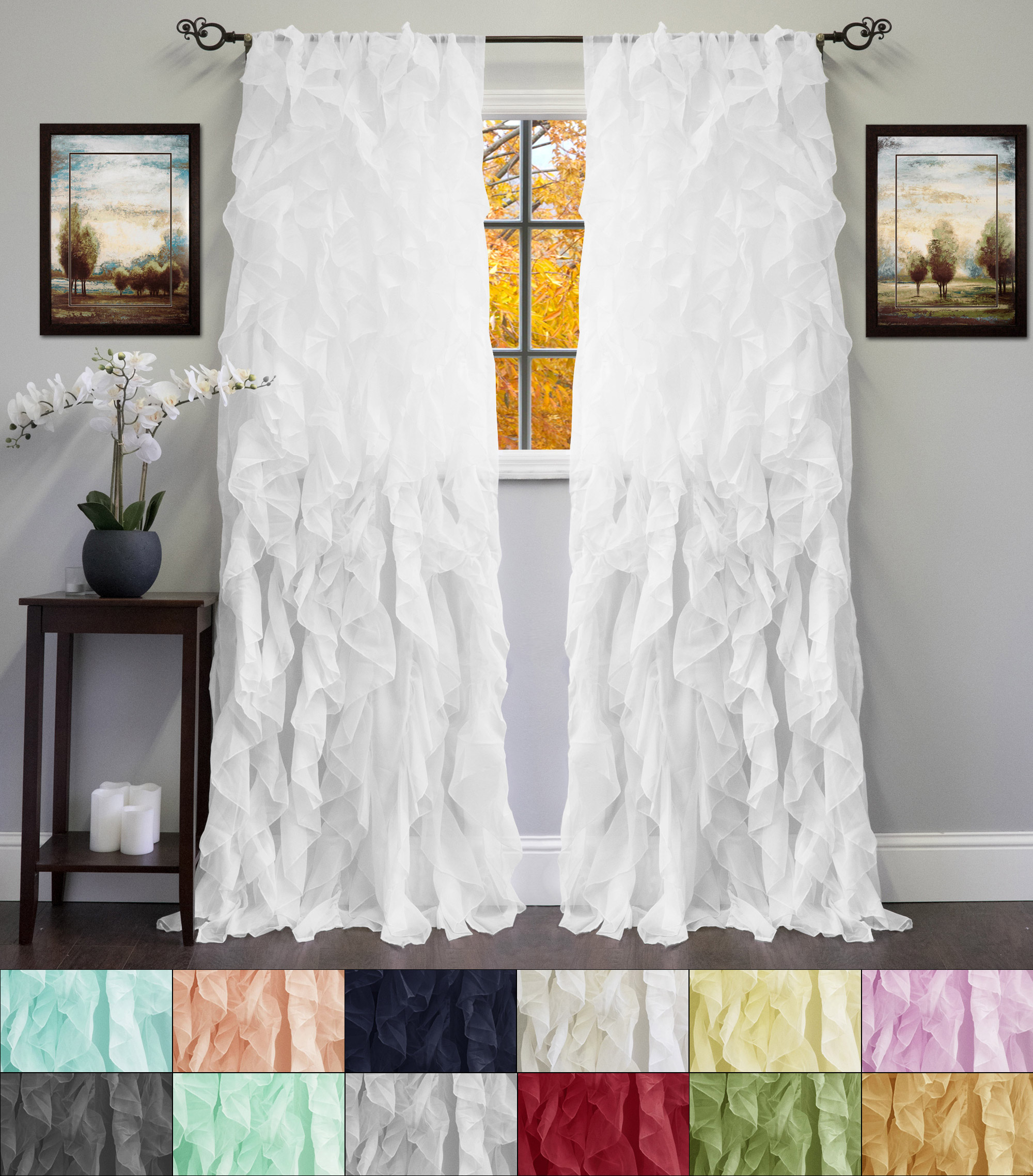 Popular Photo of Chic Sheer Voile Vertical Ruffled Window Curtain Tiers